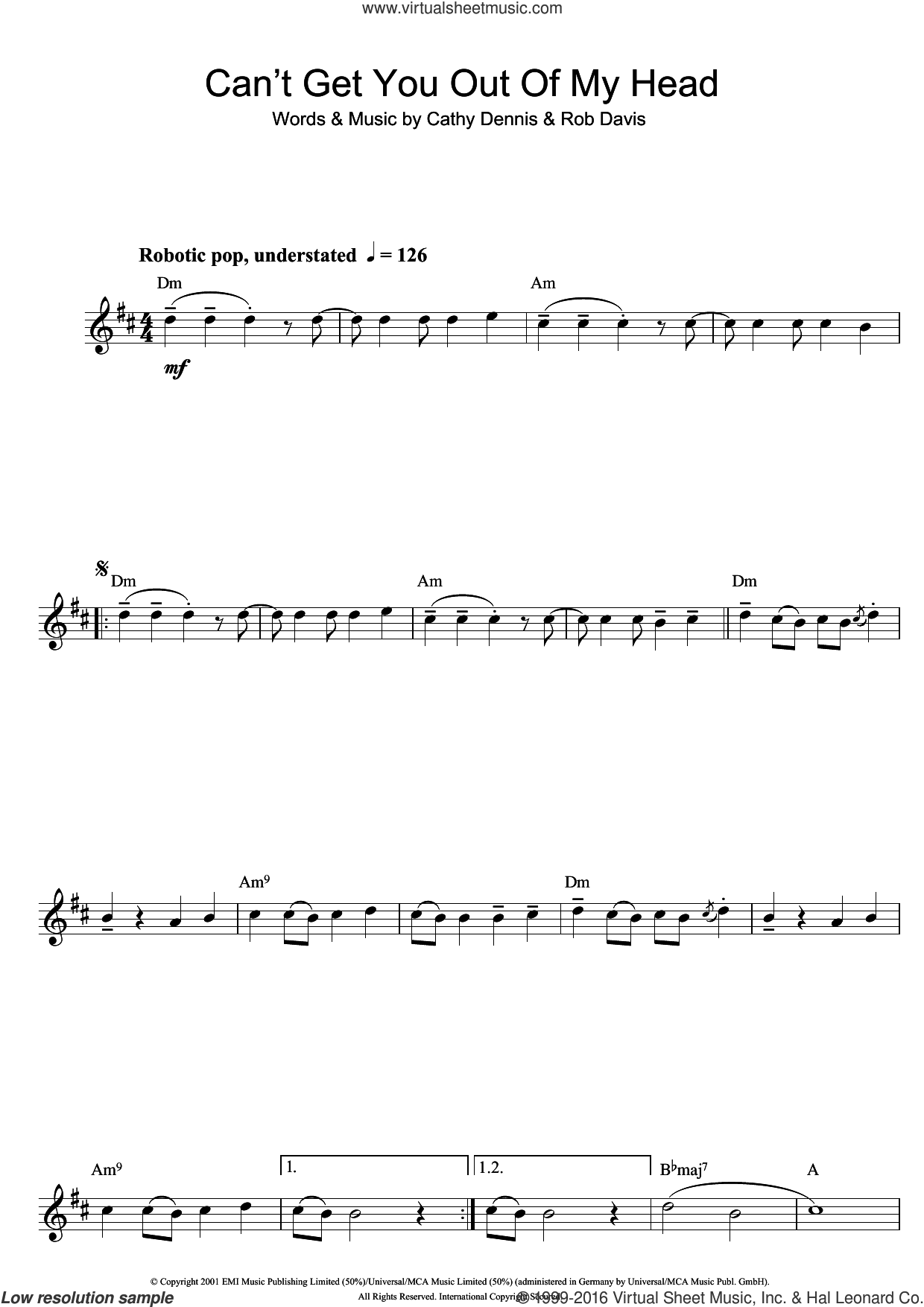 Can't Get You Out Of My Head sheet music for saxophone solo by Rob Davis, Kylie Minogue and Cathy Dennis. Score Image Preview.
