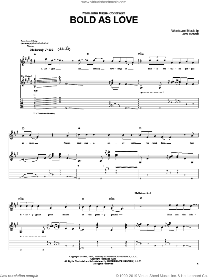 Bold As Love sheet music for guitar (tablature) by John Mayer and Jimi Hendrix. Score Image Preview.
