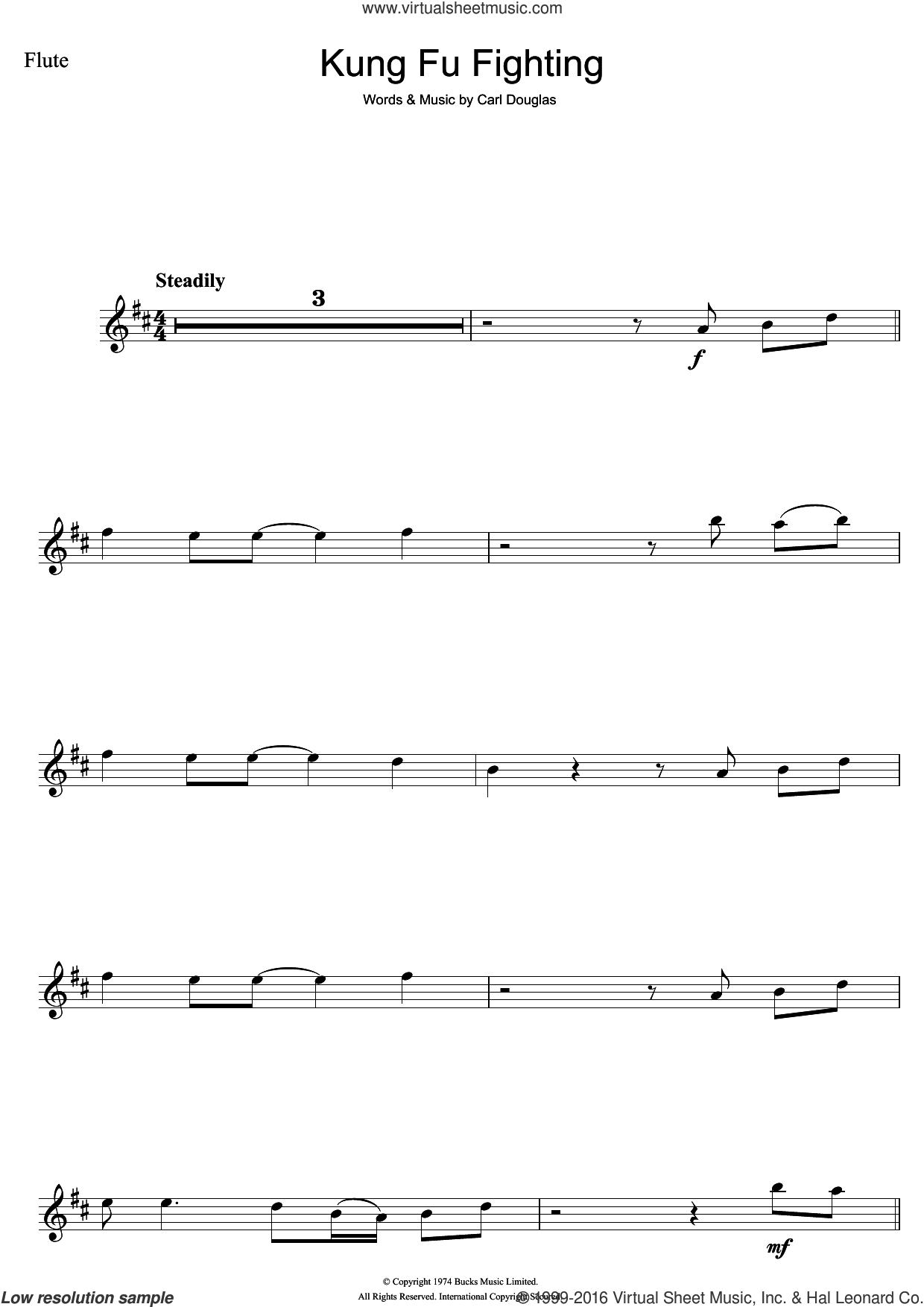 Kung Fu Fighting sheet music for flute solo by Carl Douglas. Score Image Preview.