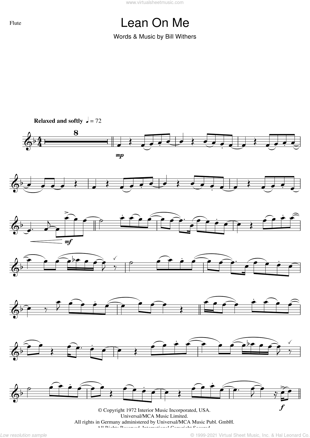 Lean On Me sheet music for flute solo by Bill Withers, intermediate skill level