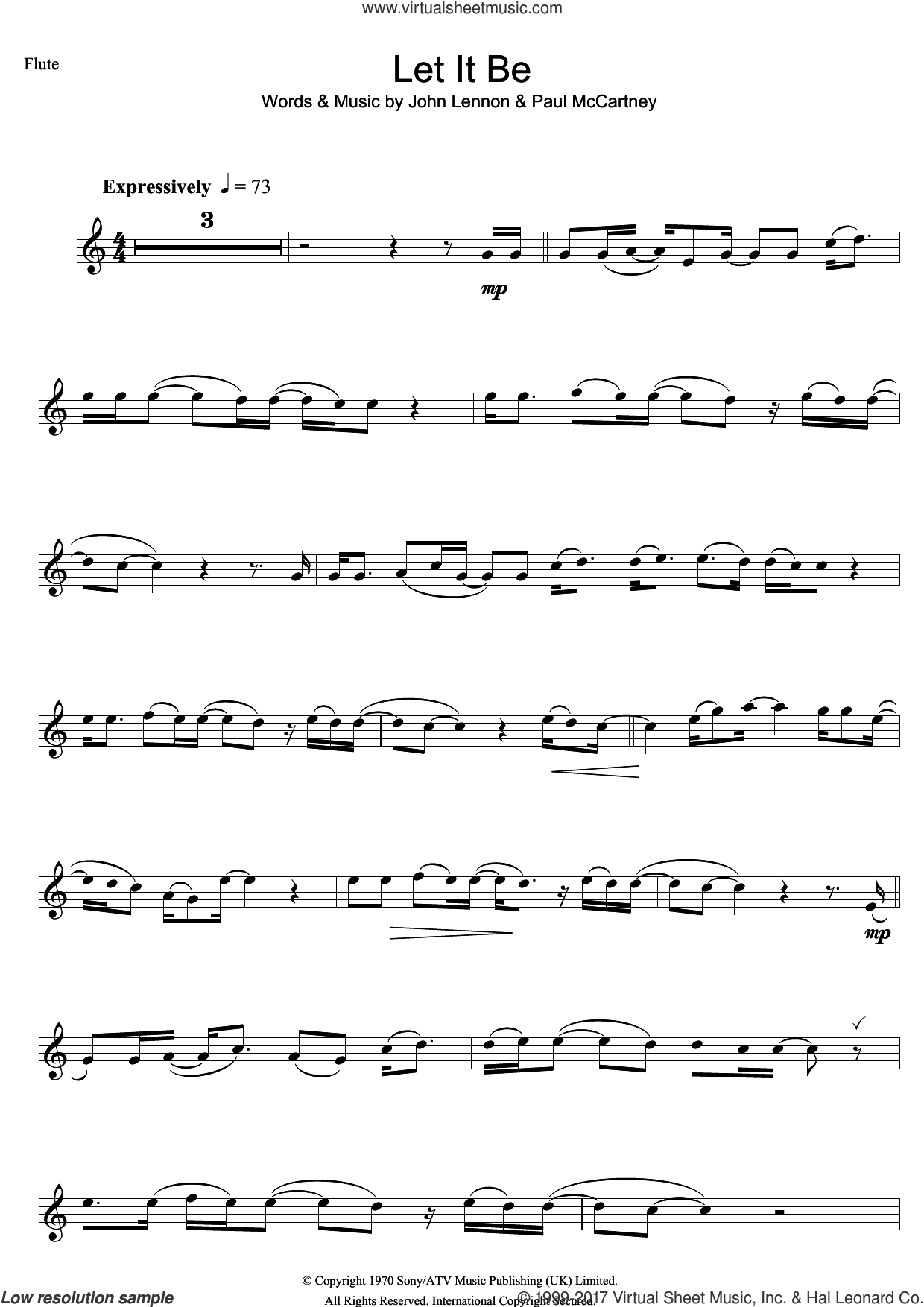 Let It Be sheet music for flute solo by The Beatles, John Lennon and Paul McCartney, intermediate skill level