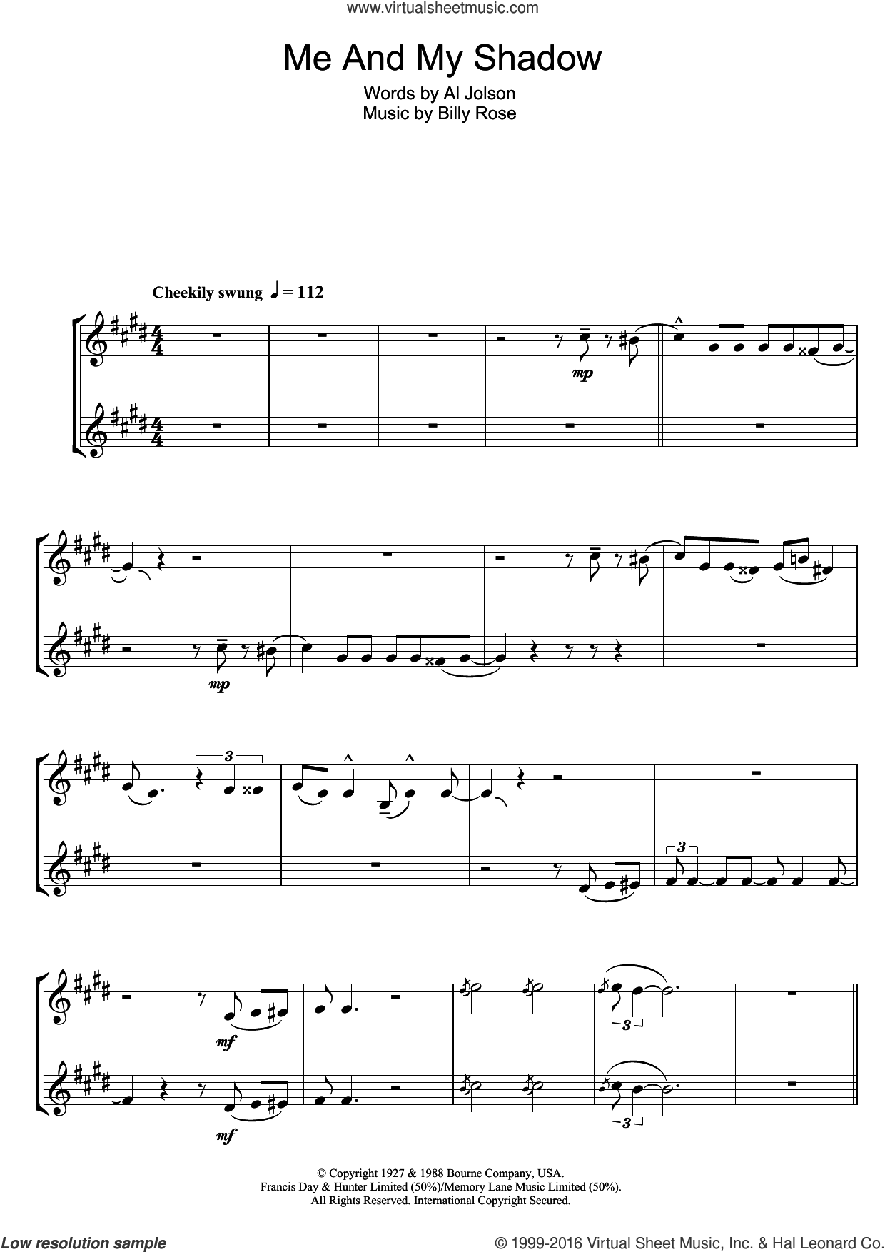 Me And My Shadow sheet music for clarinet solo by Frank Sinatra, Al Jolson and Billy Rose, intermediate clarinet. Score Image Preview.