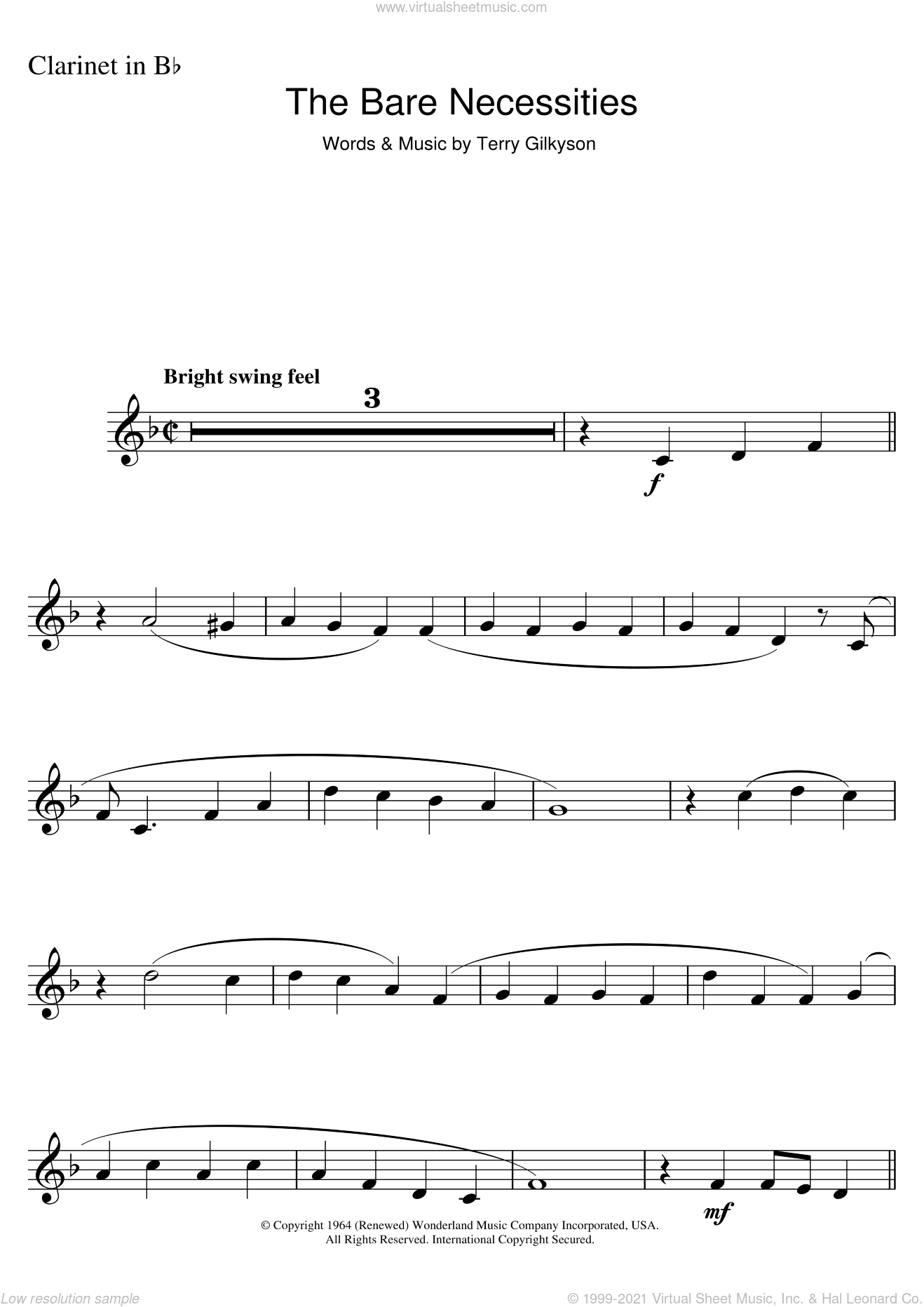The Bare Necessities (from Disney's The Jungle Book) sheet music for clarinet solo by Terry Gilkyson, intermediate. Score Image Preview.