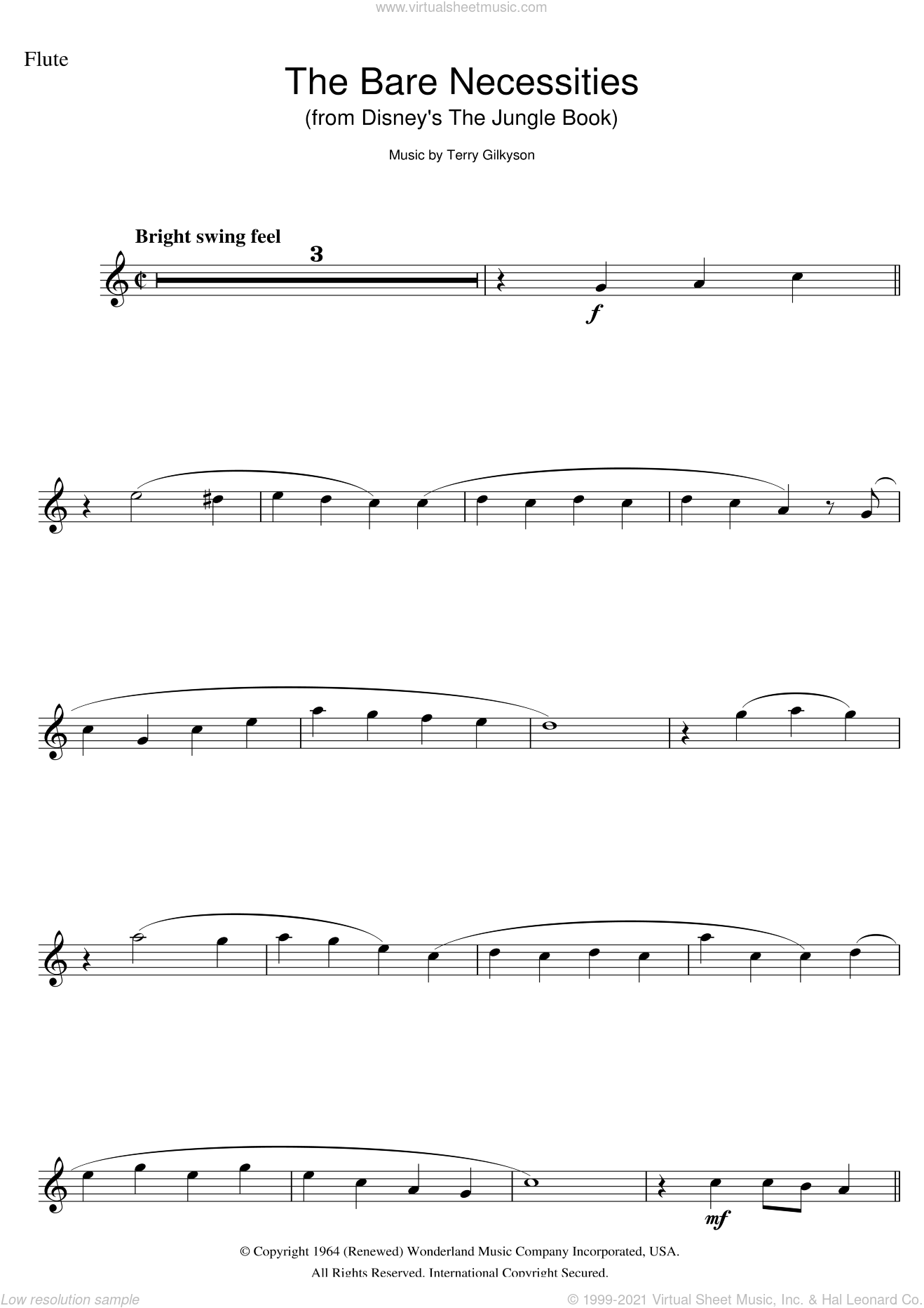 The Bare Necessities (from Disney's The Jungle Book) sheet music for flute solo by Terry Gilkyson, intermediate skill level