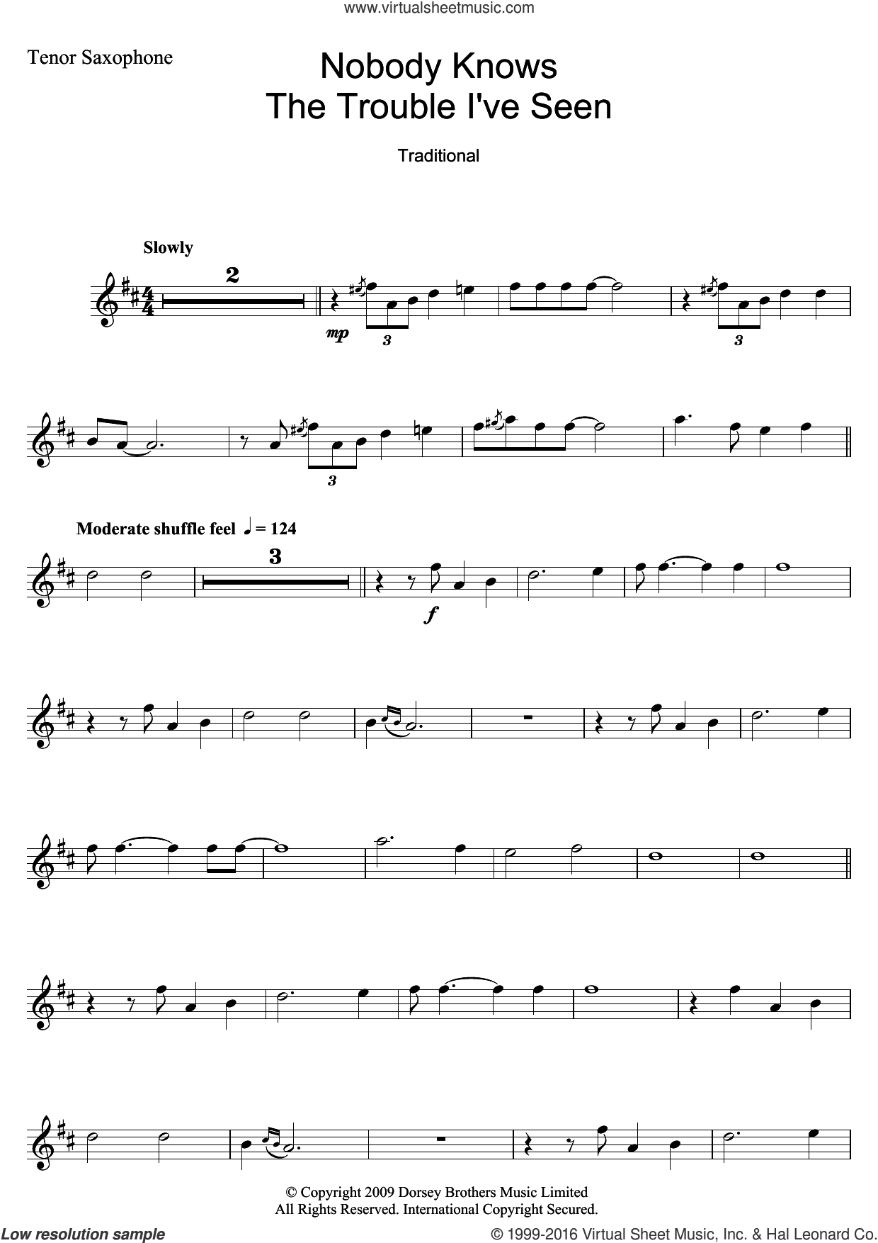 Nobody Knows The Trouble I've Seen sheet music for tenor saxophone solo by Louis Armstrong and Miscellaneous, intermediate skill level