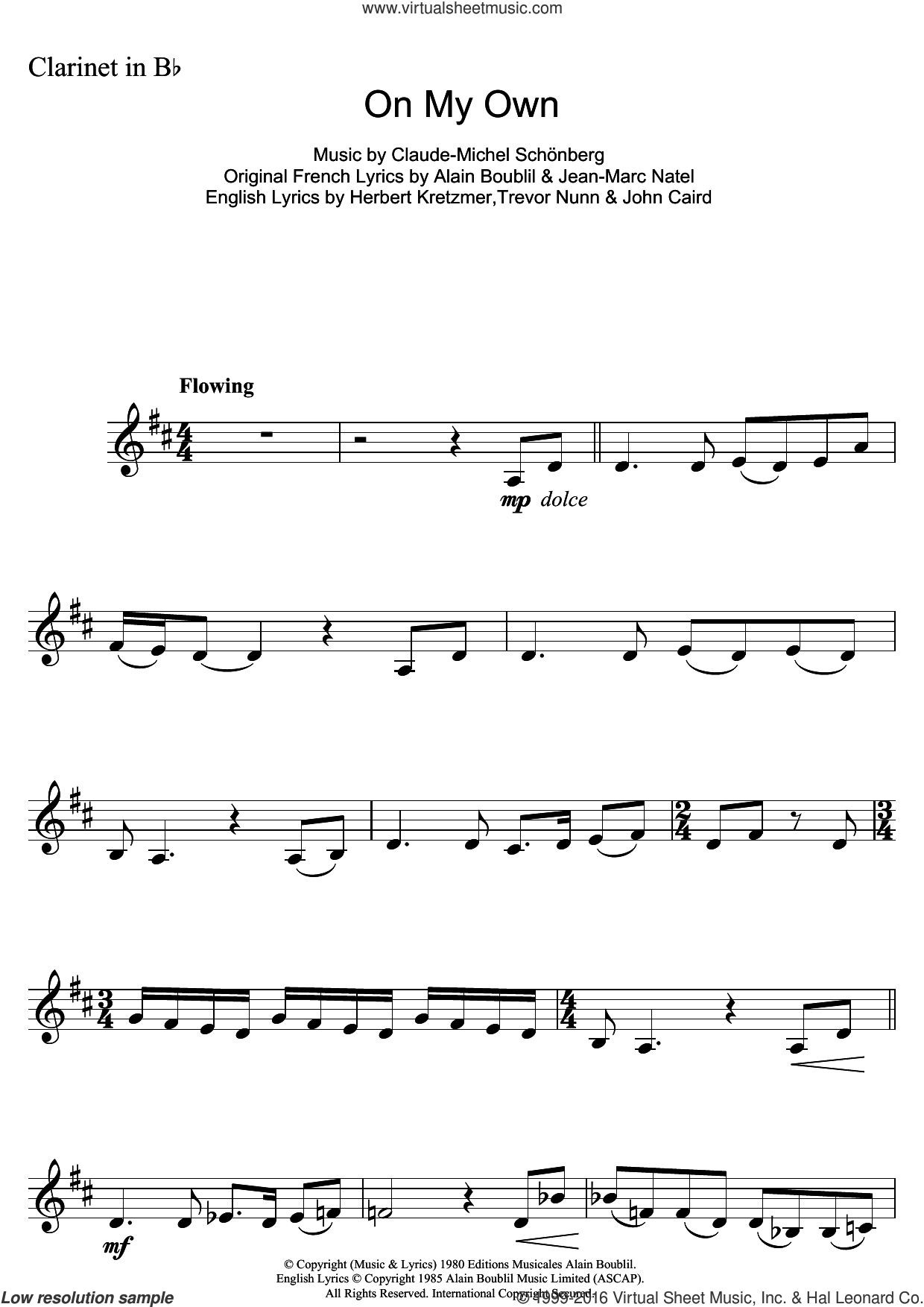 On My Own (from Les Miserables) sheet music for clarinet solo by Claude-Michel Schonberg, Alain Boublil and Herbert Kretzmer, intermediate clarinet. Score Image Preview.