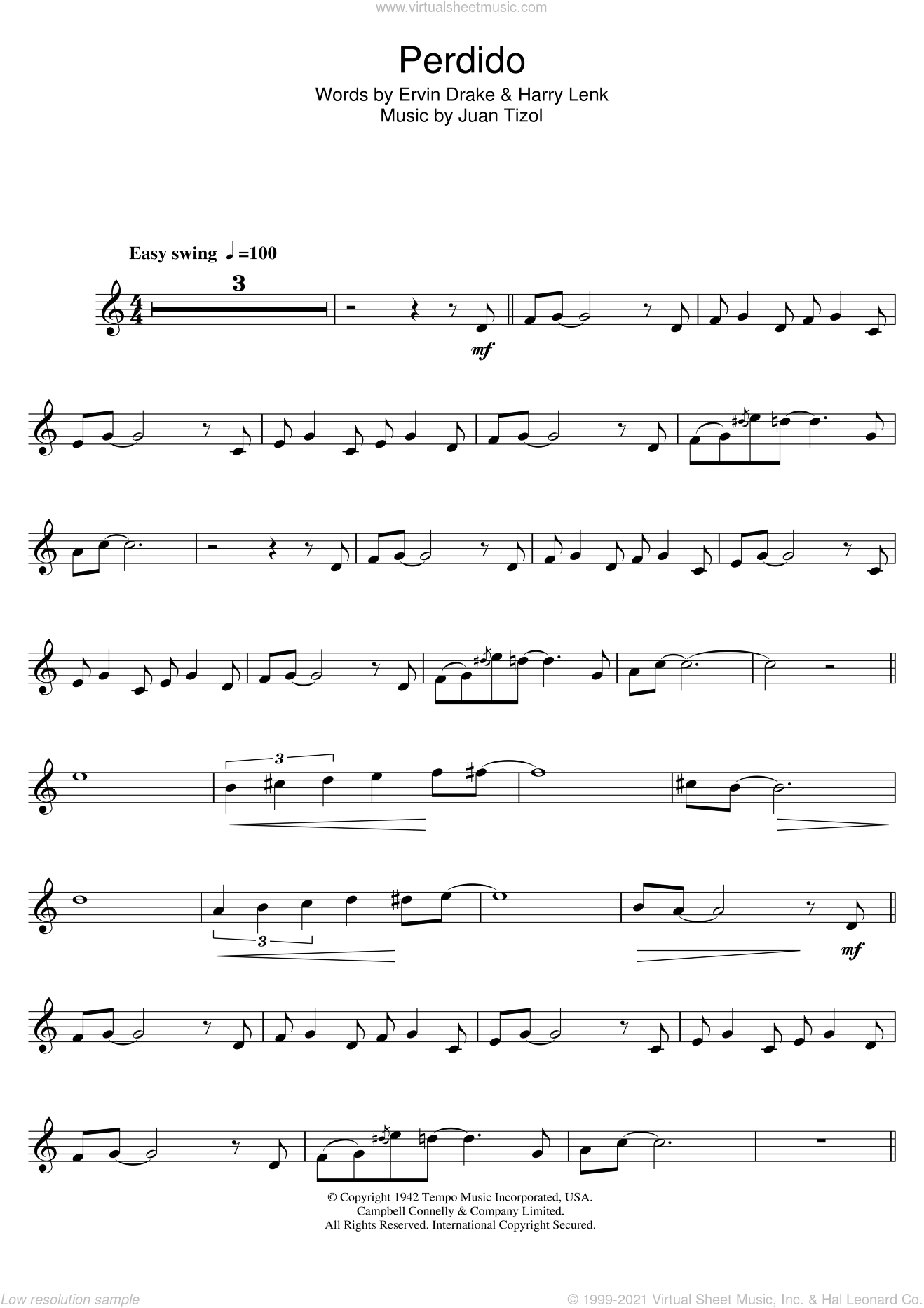Perdido sheet music for trumpet solo by Duke Ellington, Ervin Drake and Juan Tizol. Score Image Preview.