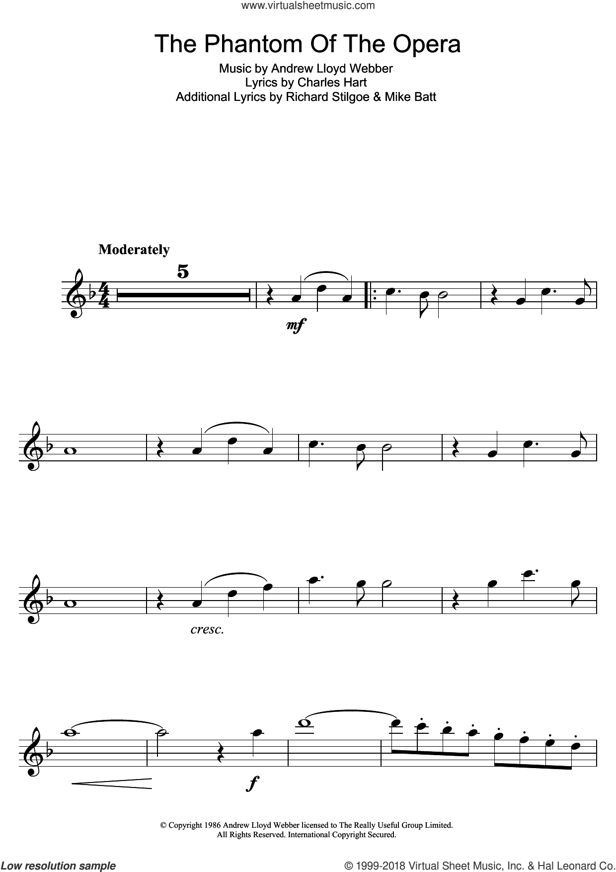 The Phantom Of The Opera sheet music for flute solo by Andrew Lloyd Webber and Charles Hart, intermediate skill level