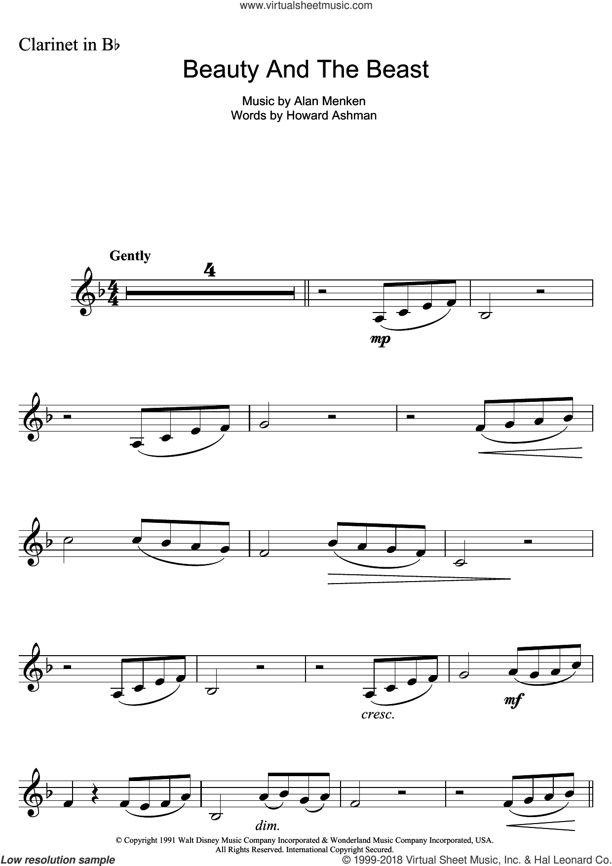 Beauty And The Beast sheet music for clarinet solo by Alan Menken and Howard Ashman, intermediate skill level