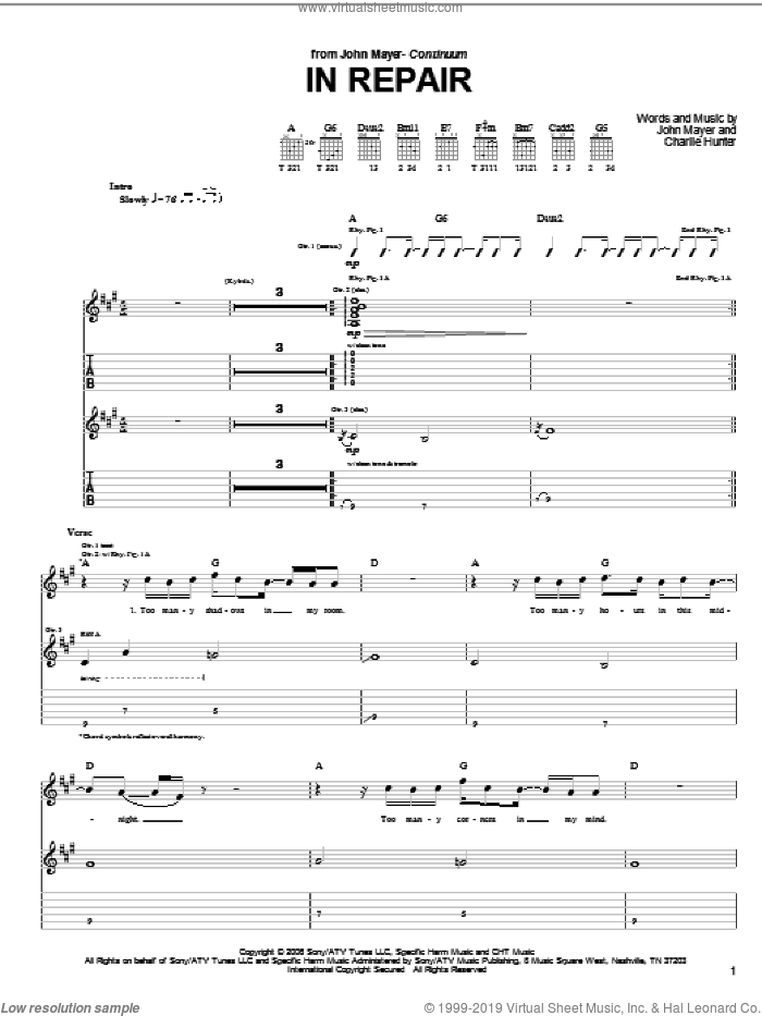 In Repair sheet music for guitar (tablature) by Charlie Hunter and John Mayer. Score Image Preview.