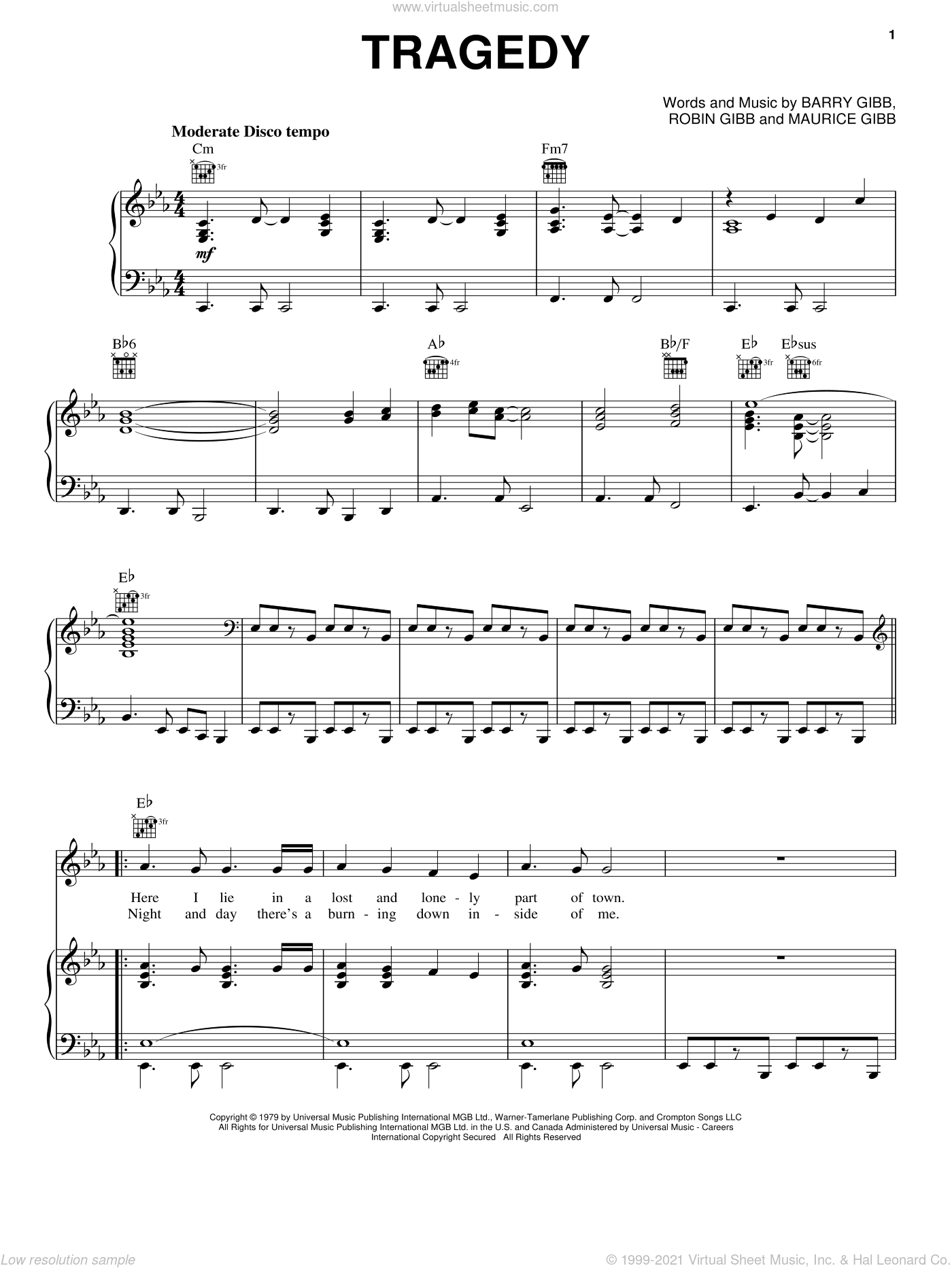 Tragedy sheet music for voice, piano or guitar by Bee Gees, Barry Gibb, Maurice Gibb and Robin Gibb, intermediate skill level
