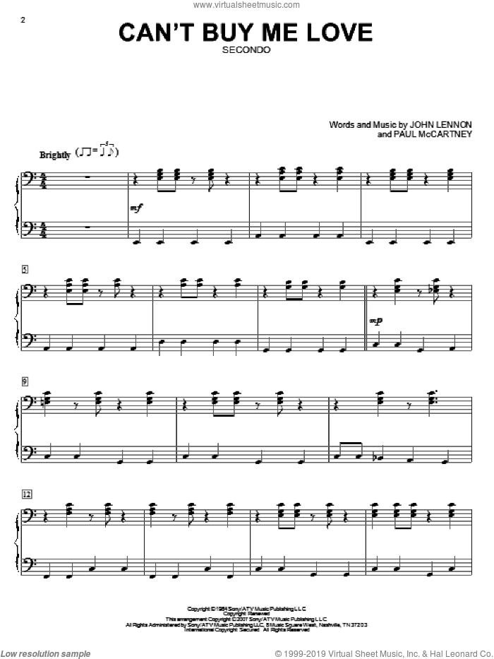 Can't Buy Me Love sheet music for piano four hands by The Beatles, John Lennon and Paul McCartney, intermediate skill level