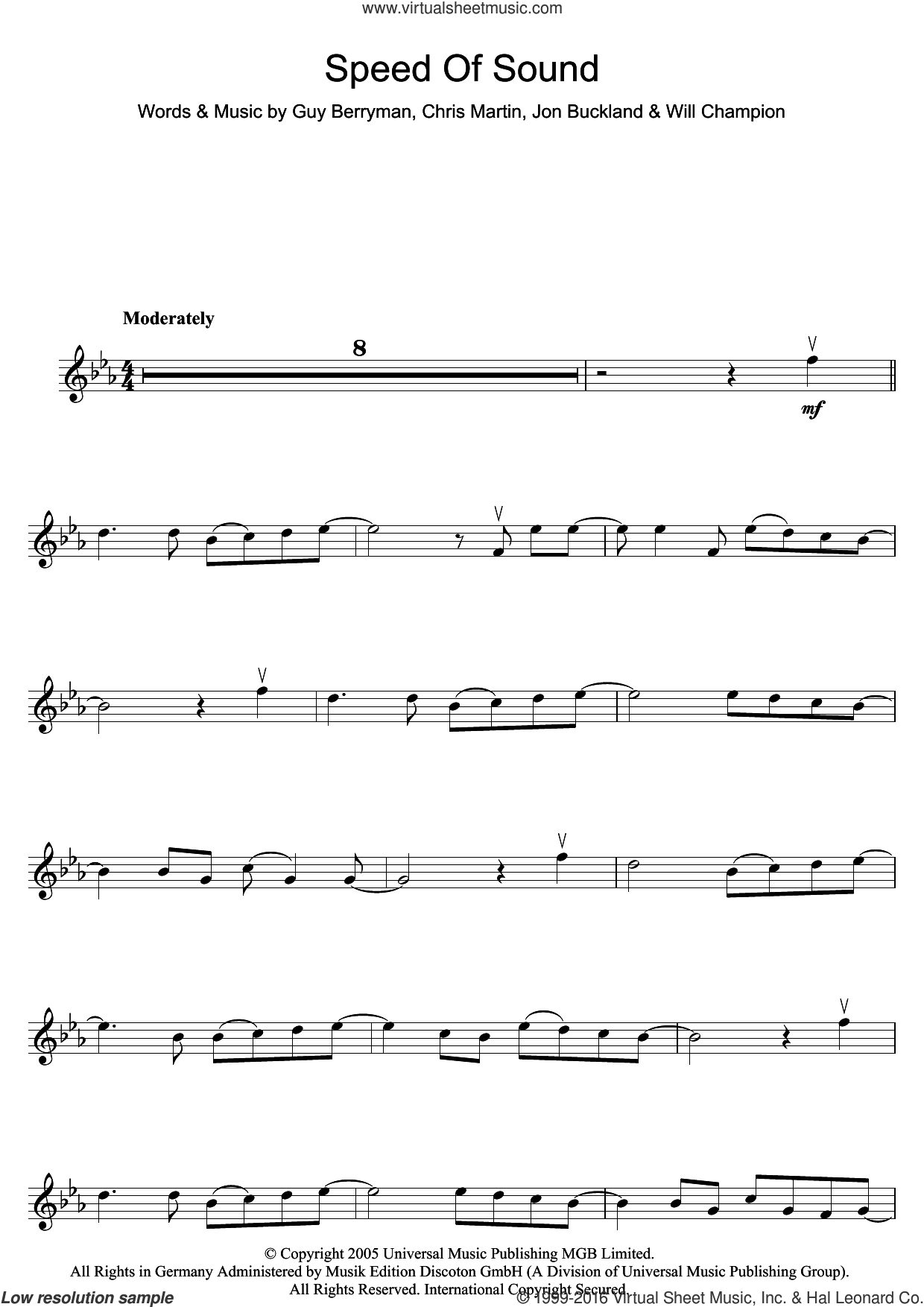 Speed Of Sound sheet music for violin solo by Coldplay, Chris Martin, Guy Berryman, Jonny Buckland and Will Champion, intermediate skill level