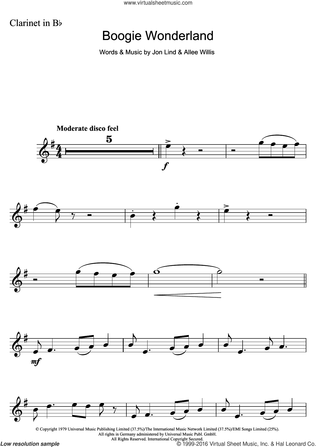 Boogie Wonderland sheet music for clarinet solo by Earth, Wind & Fire, Allee Willis and Jon Lind. Score Image Preview.