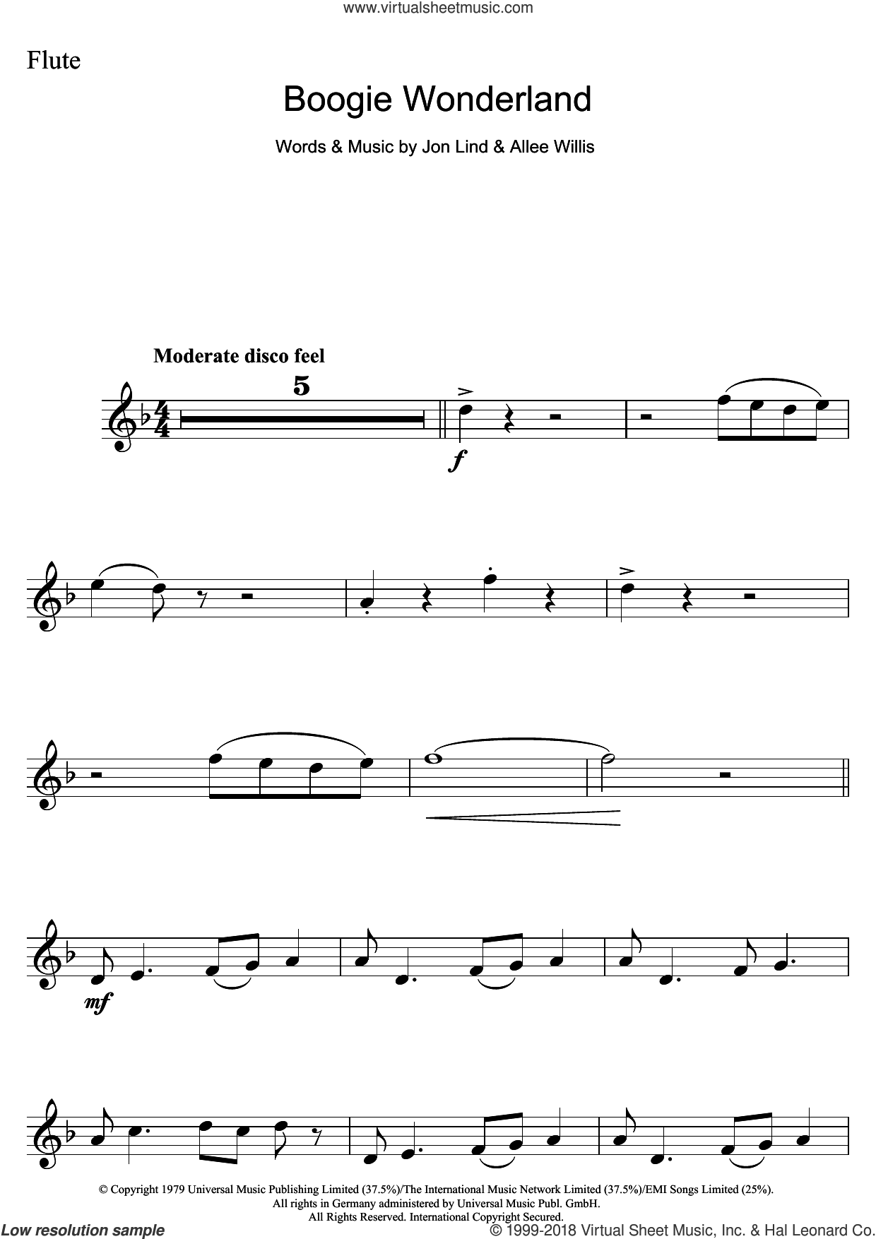 Boogie Wonderland sheet music for flute solo by Earth, Wind & Fire, Allee Willis and Jon Lind, intermediate skill level