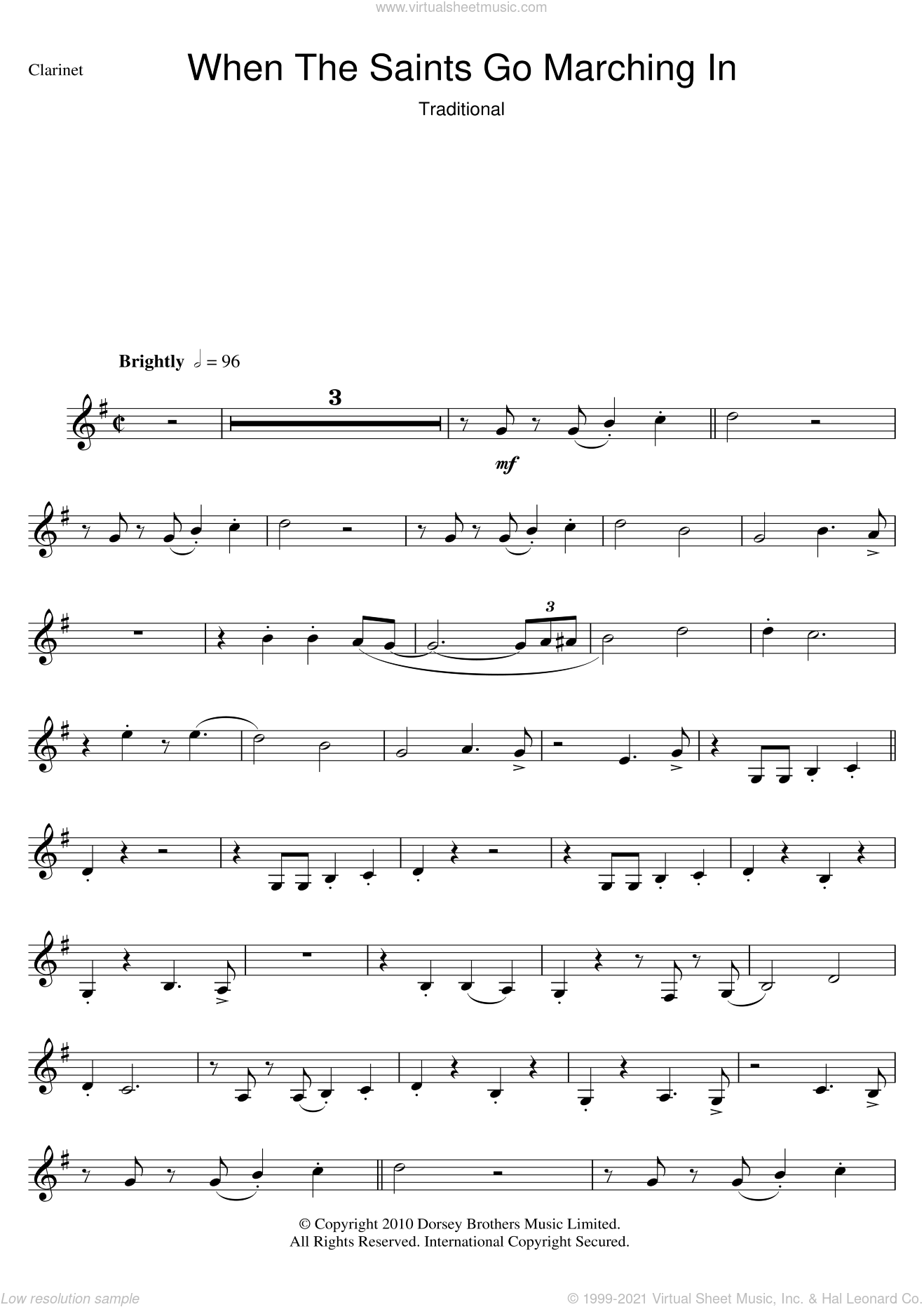 When The Saints Go Marching In sheet music for clarinet solo. Score Image Preview.
