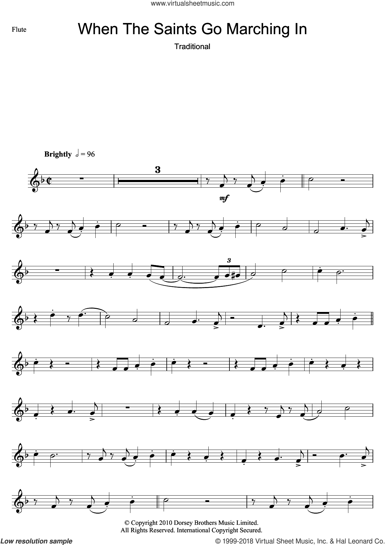 When The Saints Go Marching In sheet music for flute solo. Score Image Preview.