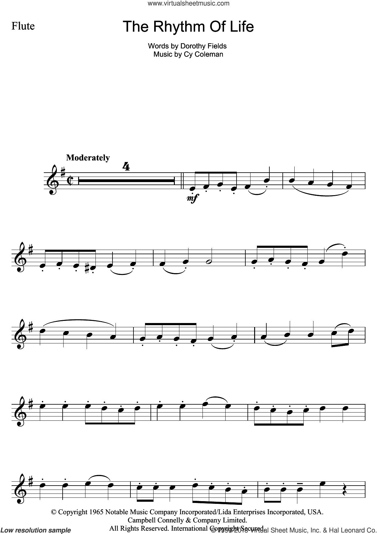 The Rhythm Of Life (from Sweet Charity) sheet music for flute solo by Cy Coleman and Dorothy Fields, intermediate skill level