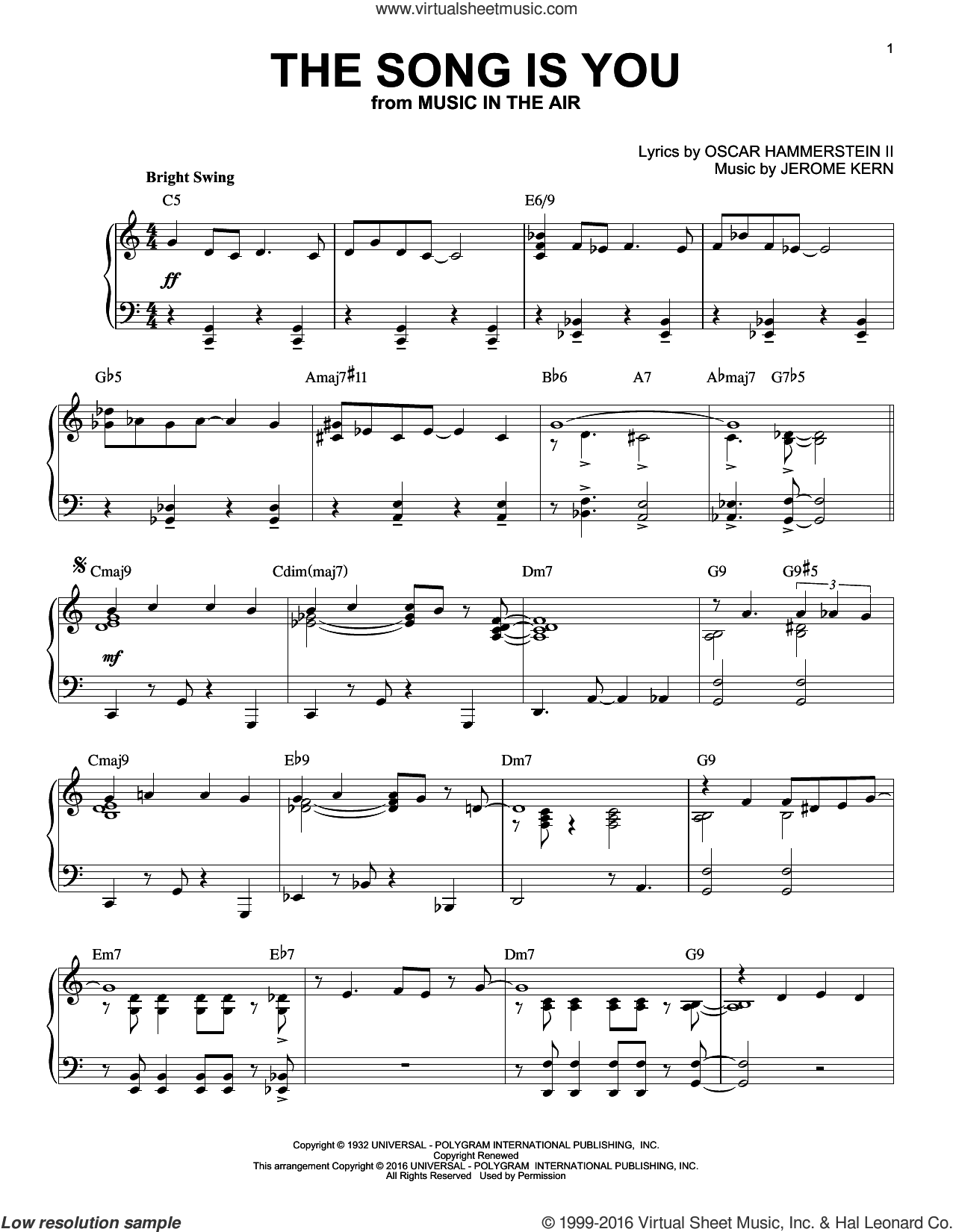 The Song Is You sheet music for piano solo by Oscar II Hammerstein and Jerome Kern. Score Image Preview.