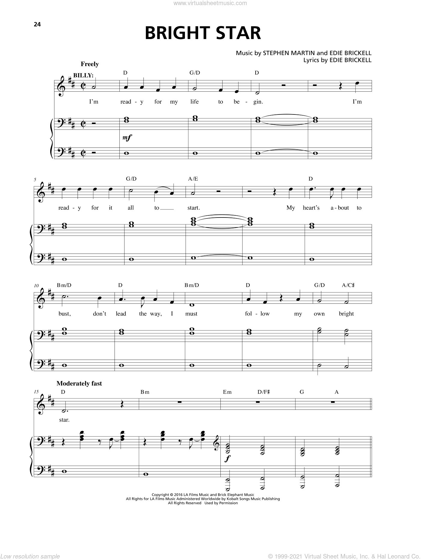 Bright Star sheet music for voice and piano by Edie Brickell, Stephen Martin and Stephen Martin & Edie Brickell, intermediate. Score Image Preview.