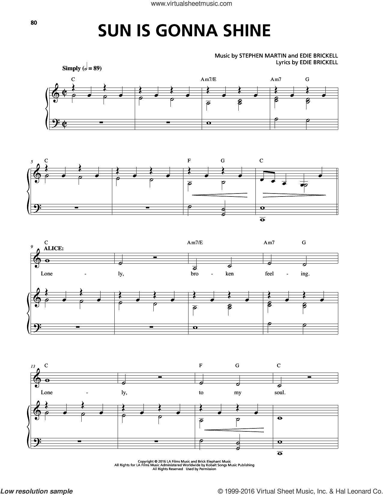 Sun Is Gonna Shine sheet music for voice and piano by Stephen Martin. Score Image Preview.