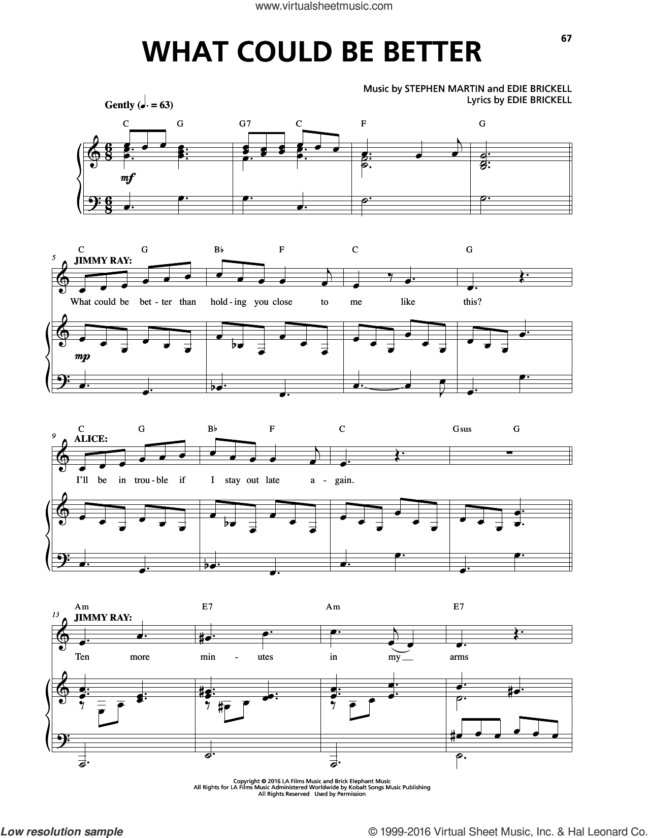 What Could Be Better sheet music for voice and piano by Edie Brickell, Stephen Martin and Stephen Martin & Edie Brickell, intermediate skill level