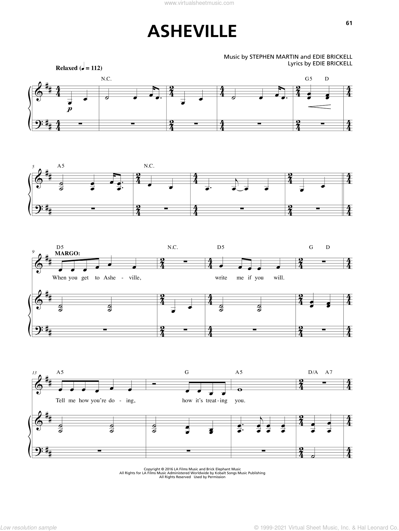 Asheville sheet music for voice and piano by Edie Brickell, intermediate voice. Score Image Preview.