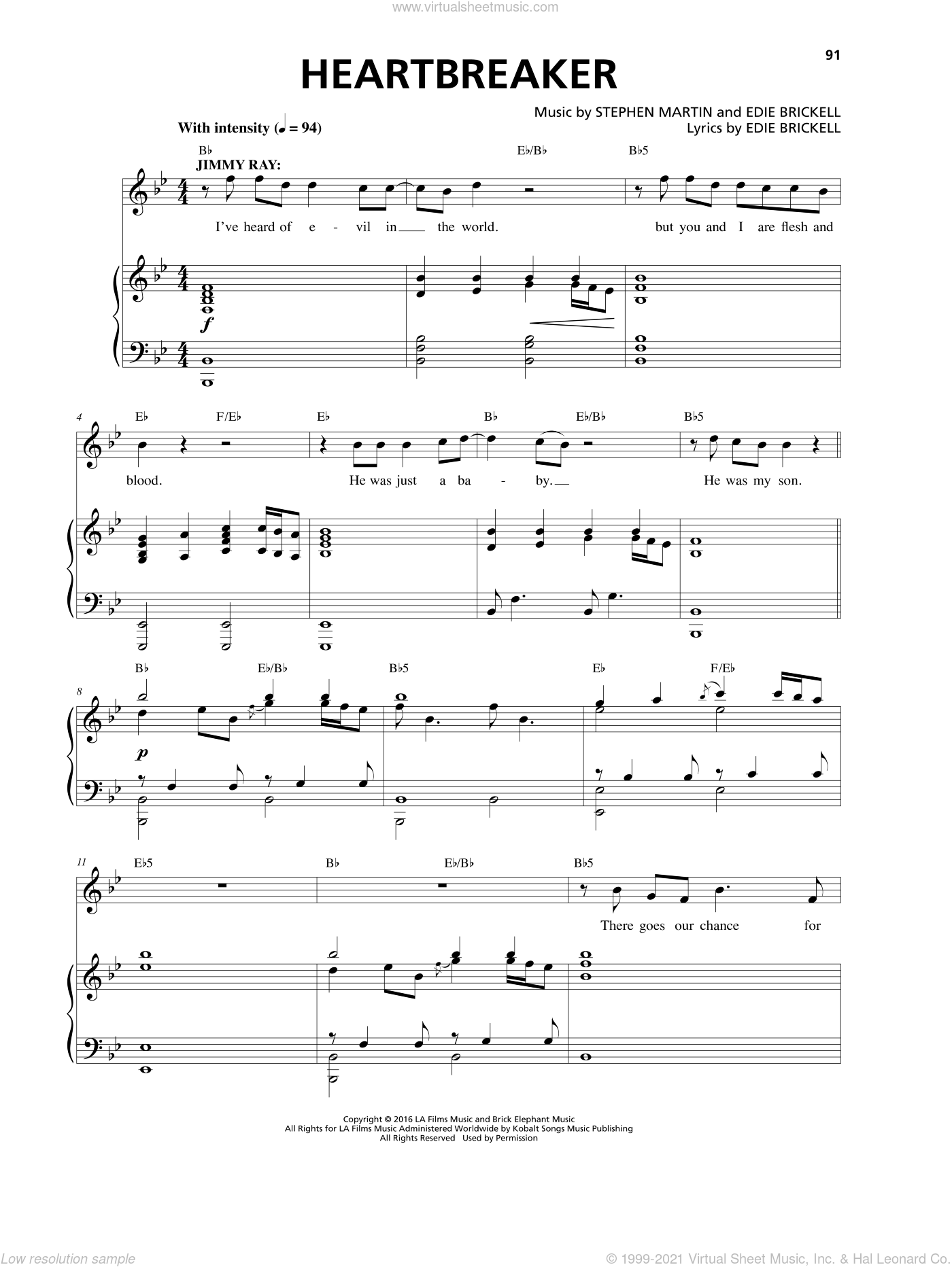 Heartbreaker sheet music for voice and piano by Stephen Martin. Score Image Preview.