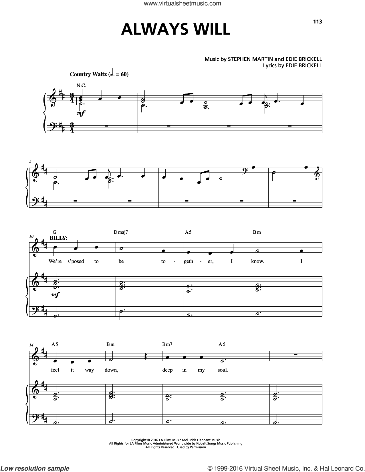 Always Will sheet music for voice and piano by Stephen Martin. Score Image Preview.