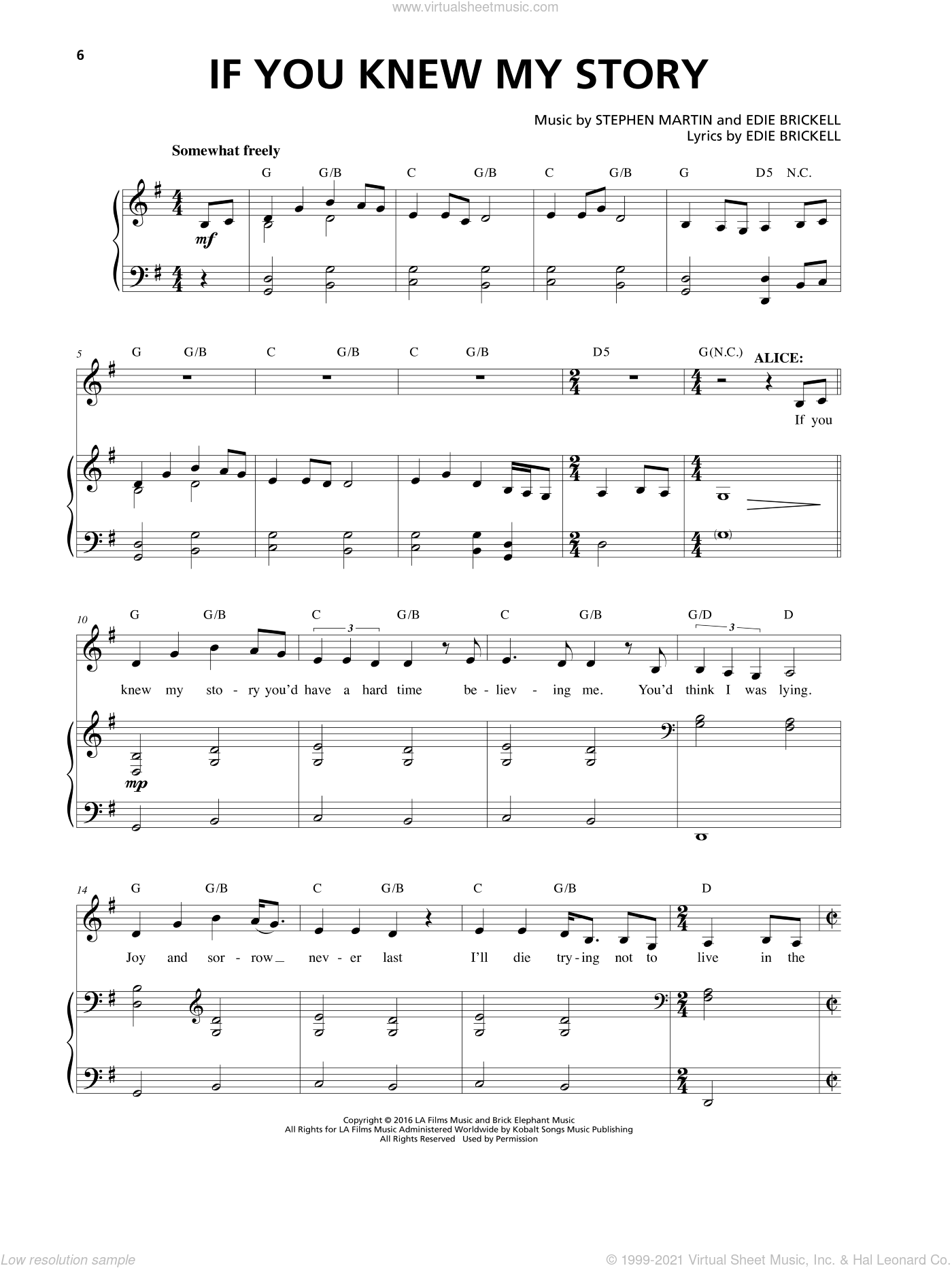 If You Knew My Story sheet music for voice and piano by Edie Brickell, Stephen Martin and Stephen Martin & Edie Brickell, intermediate skill level