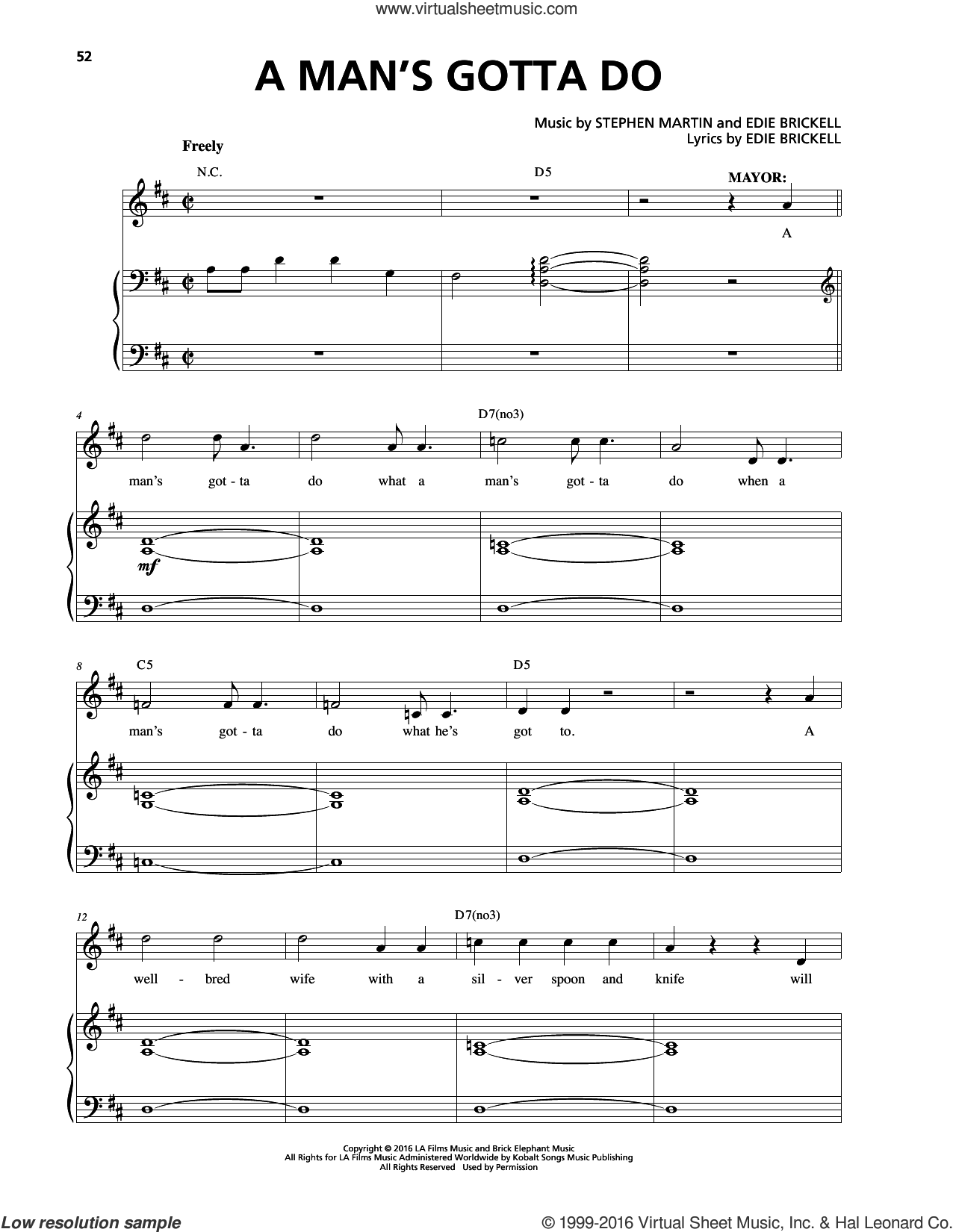 A Man's Gotta Do sheet music for voice and piano by Edie Brickell, intermediate. Score Image Preview.
