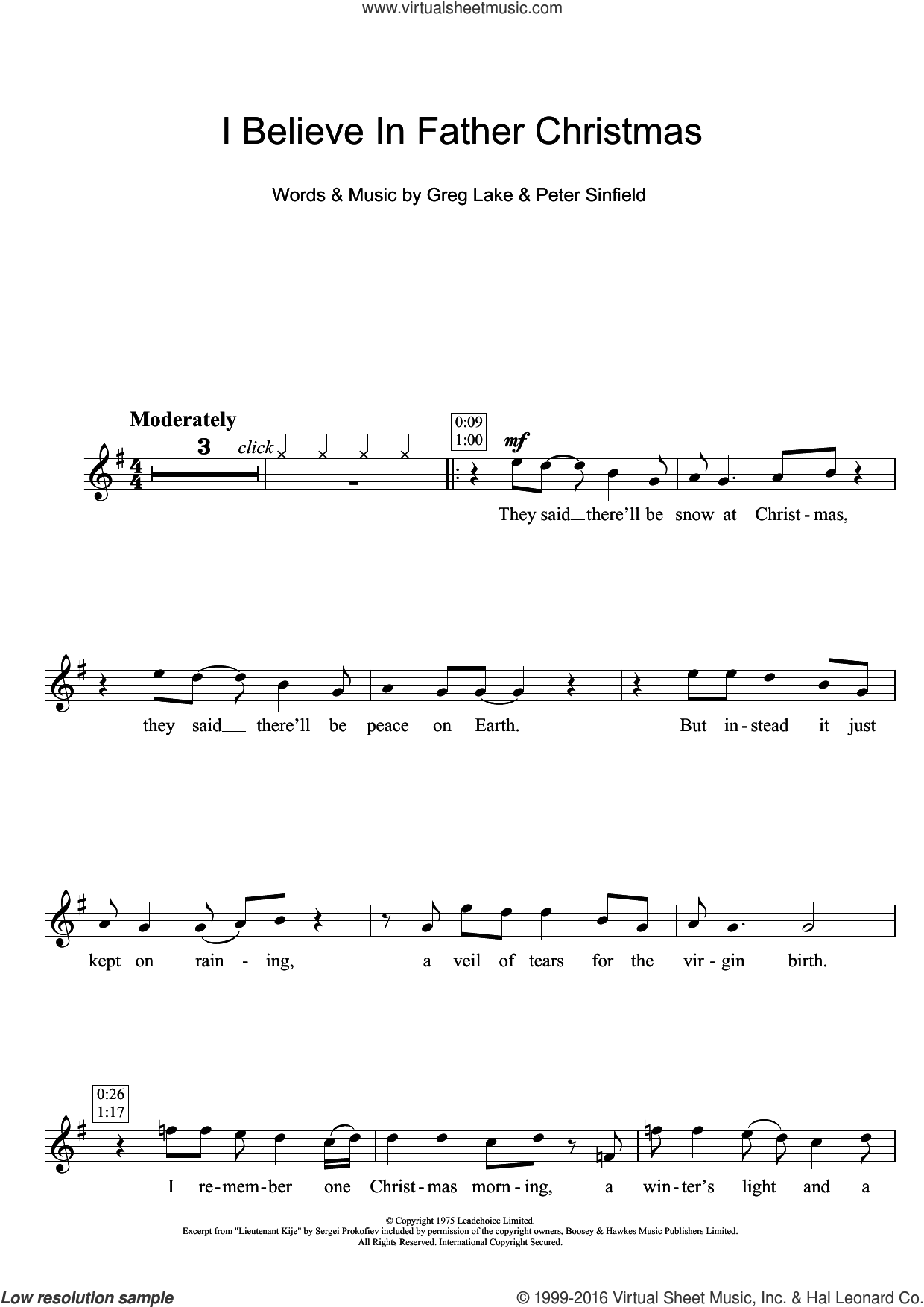 I Believe In Father Christmas sheet music for flute solo by Peter Sinfield and Greg Lake. Score Image Preview.