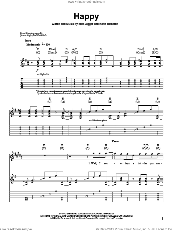 Happy sheet music for guitar (tablature, play-along) by The Rolling Stones, Keith Richards and Mick Jagger, intermediate skill level