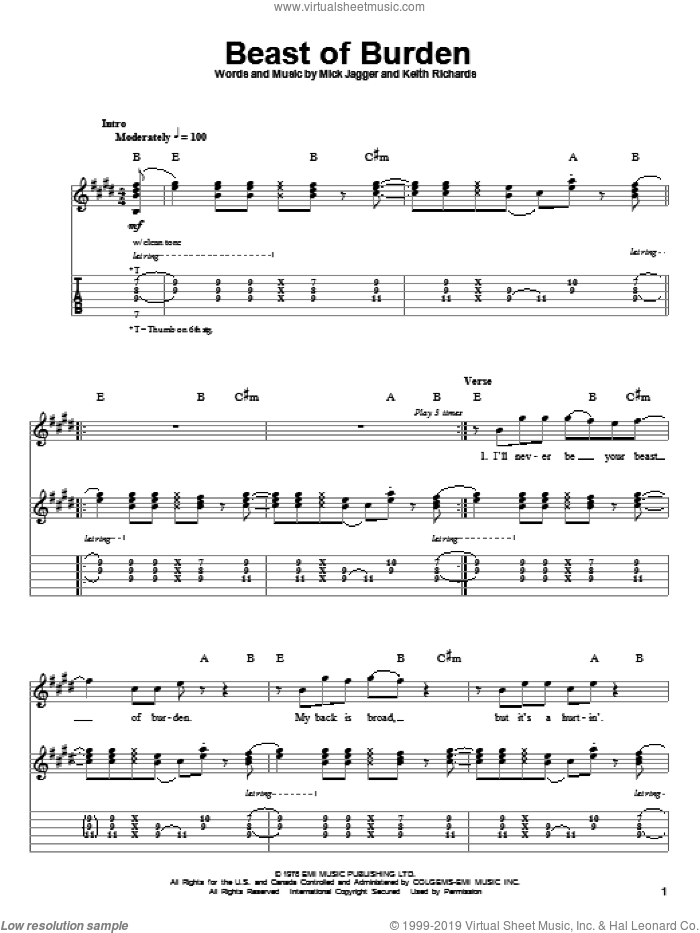 Beast Of Burden sheet music for guitar (tablature, play-along) by The Rolling Stones, Keith Richards and Mick Jagger. Score Image Preview.