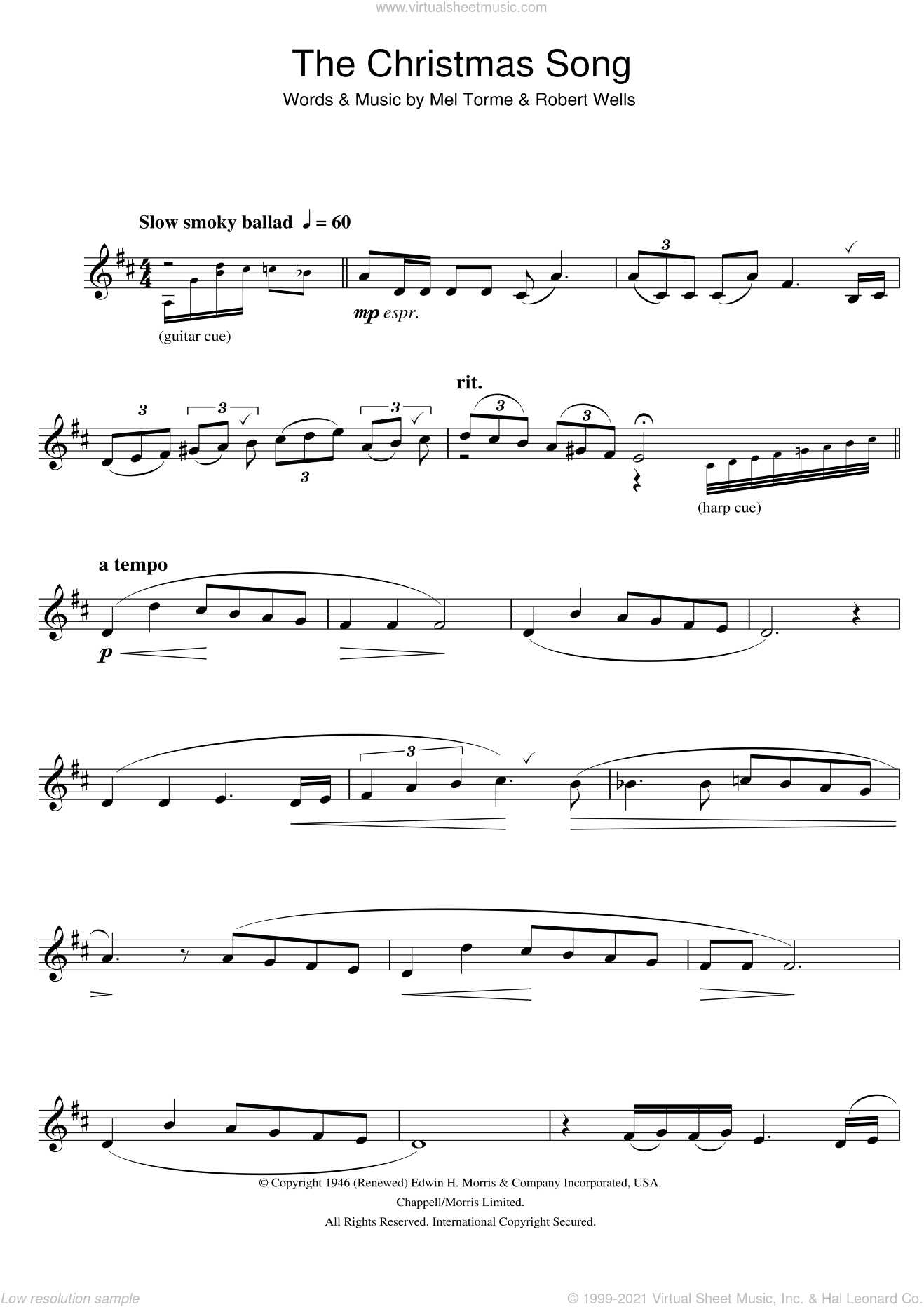 The Christmas Song (Chestnuts Roasting On An Open Fire) sheet music for clarinet solo by Mel Torme and Robert Wells, intermediate skill level