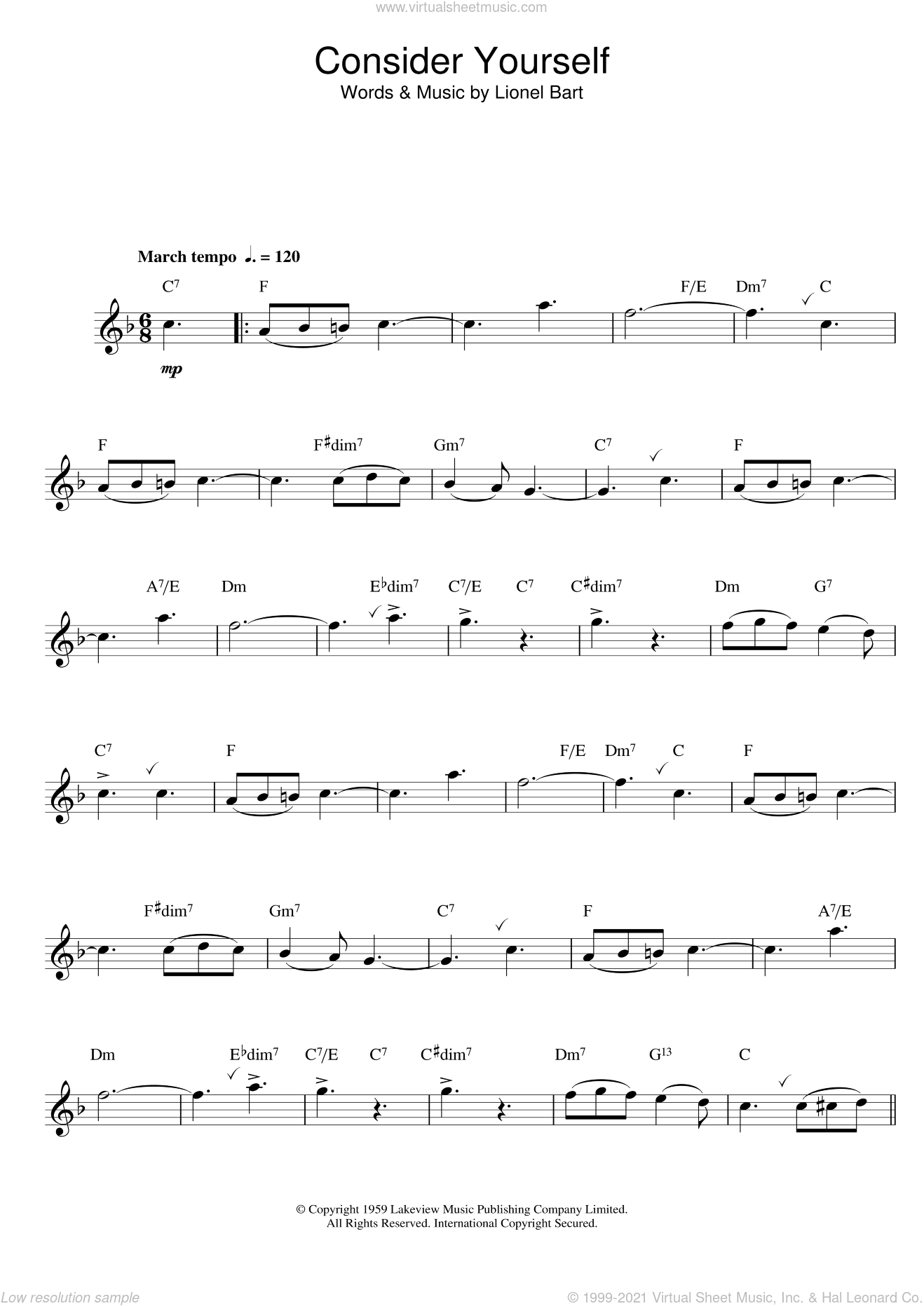 Consider Yourself sheet music for saxophone solo by Lionel Bart, intermediate saxophone. Score Image Preview.
