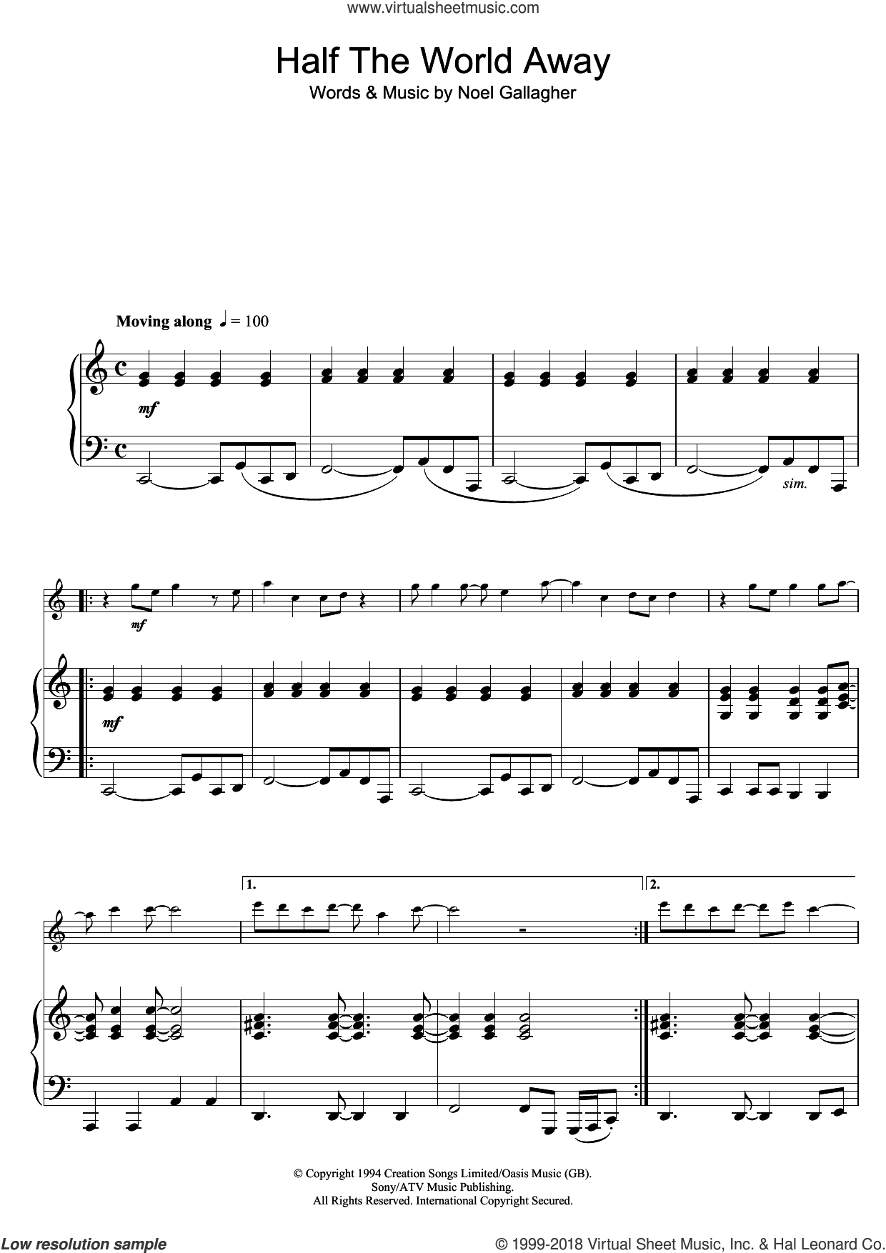 Half The World Away sheet music for flute solo by Oasis and Noel Gallagher, intermediate skill level