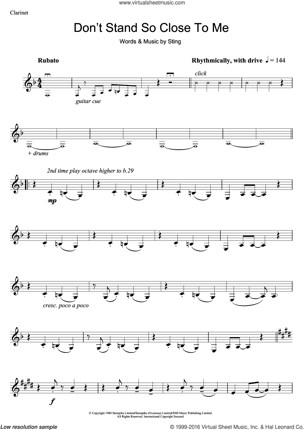 Don't Stand So Close To Me sheet music for clarinet solo by Sting and The Police. Score Image Preview.