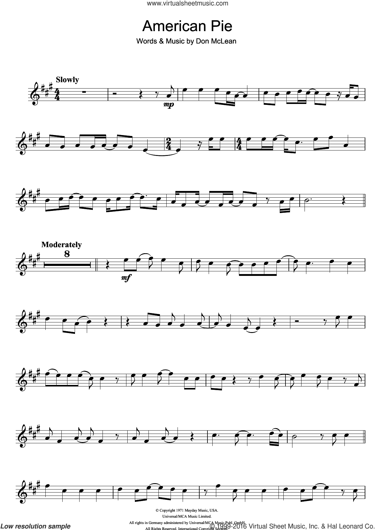 American Pie sheet music for trumpet solo by Madonna and Don McLean, intermediate skill level