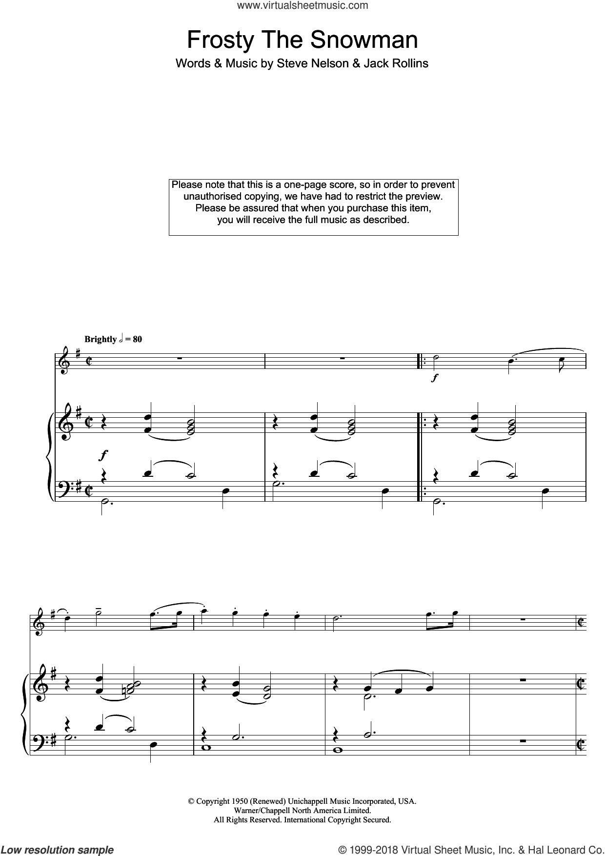 Frosty The Snowman sheet music for flute solo by The Ronettes, Jack Rollins and Steve Nelson, intermediate. Score Image Preview.