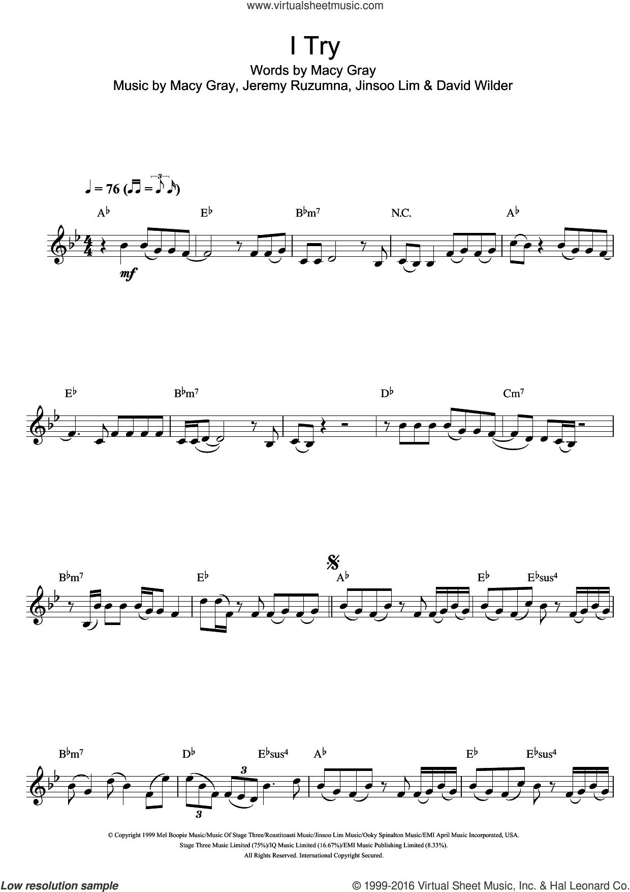 I Try sheet music for clarinet solo by Macy Gray, intermediate clarinet. Score Image Preview.
