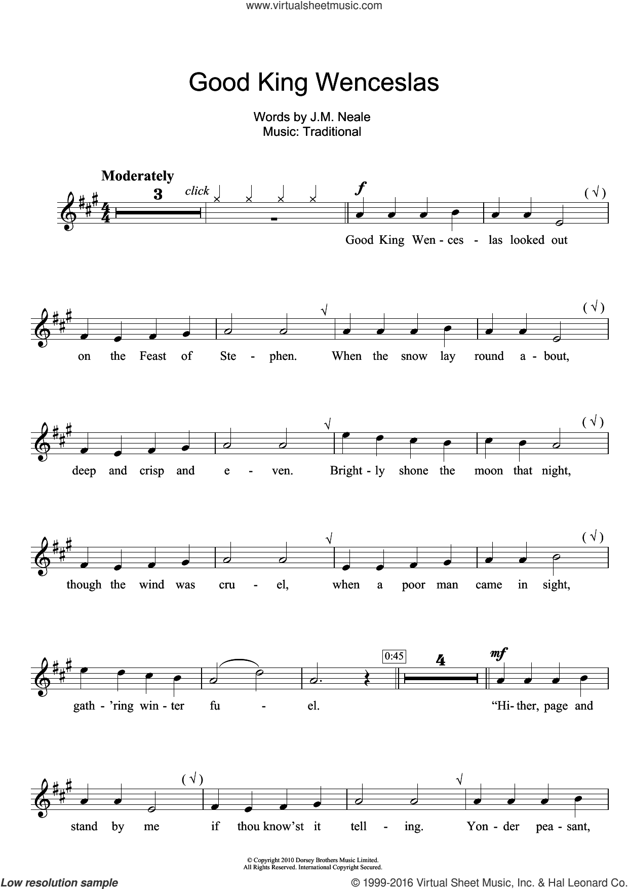 Good King Wenceslas sheet music for clarinet solo by John Mason Neale and Miscellaneous. Score Image Preview.