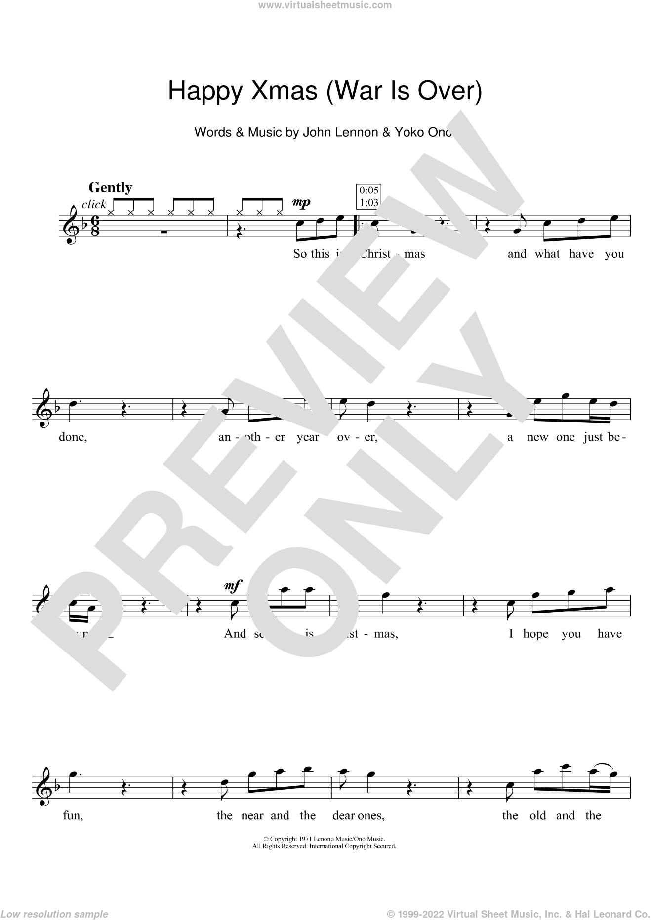 Happy Xmas (War Is Over) sheet music for flute solo by Yoko Ono and John Lennon. Score Image Preview.