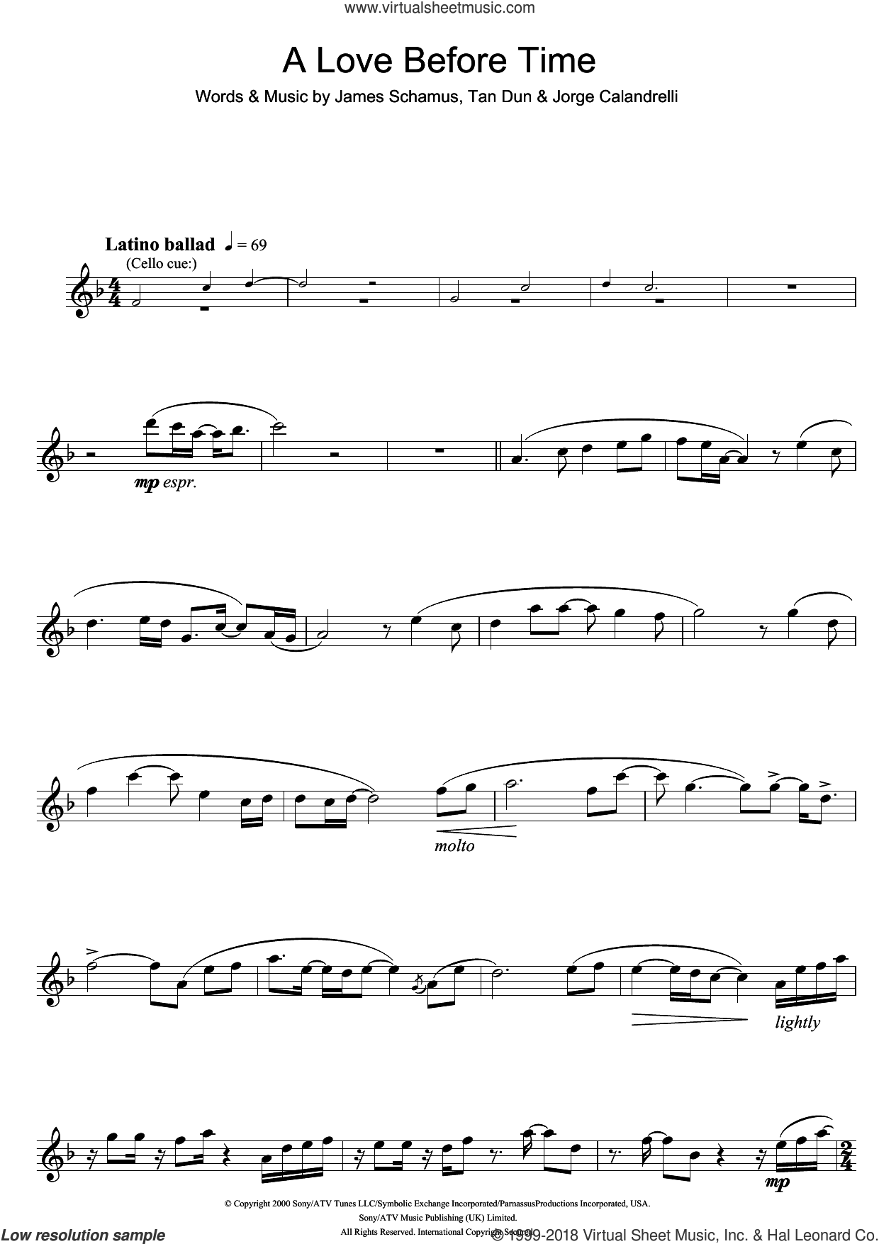 A Love Before Time (from Crouching Tiger, Hidden Dragon) sheet music for flute solo by Coco Lee, James Schamus, Jorge Calandrelli and Tan Dun, intermediate skill level