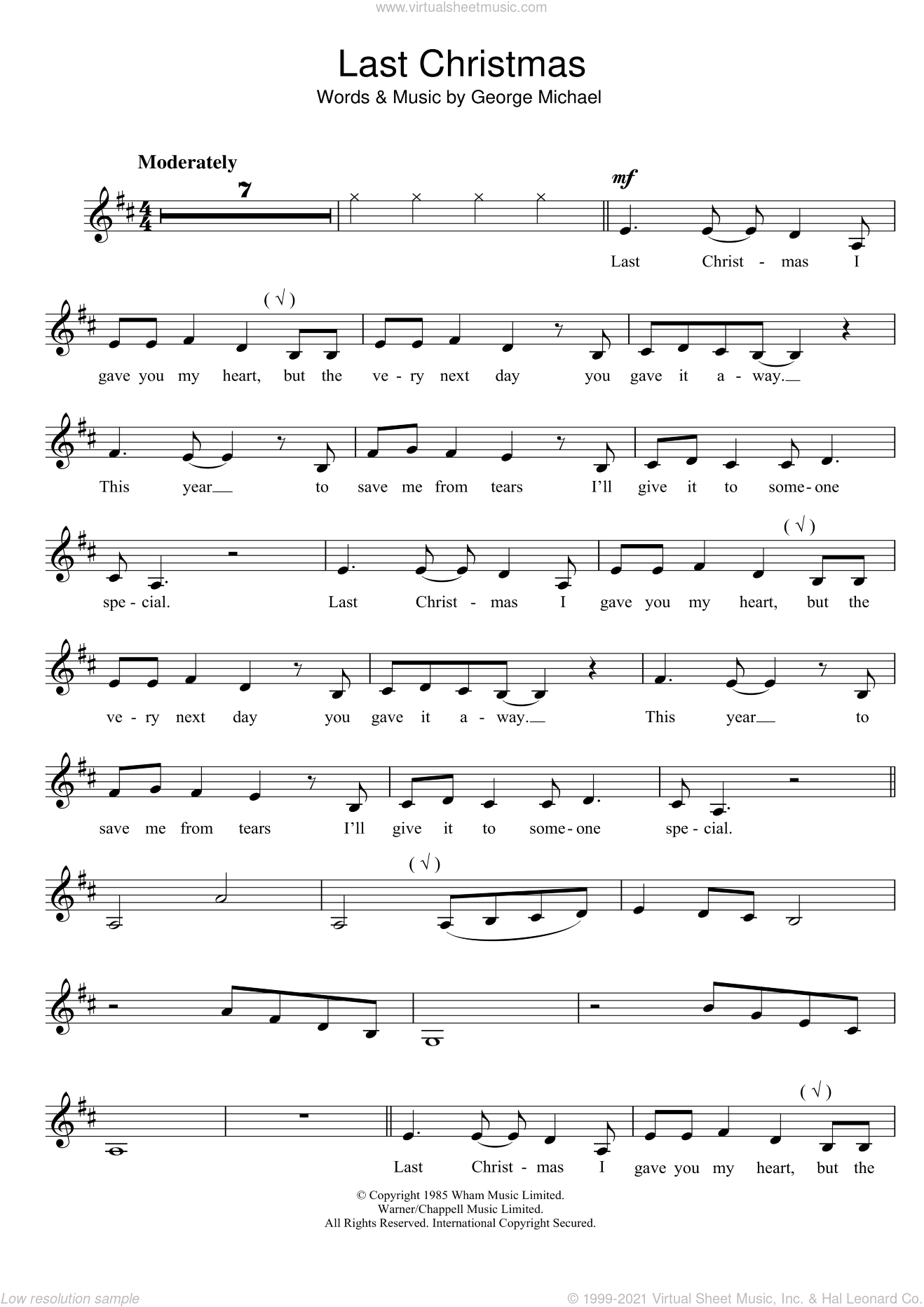 Last Christmas Easy Piano Sheet Music