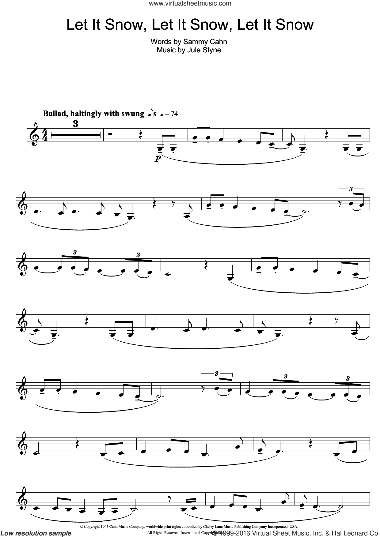 Let It Snow! Let It Snow! Let It Snow! sheet music for clarinet solo by Doris Day, Jule Styne and Sammy Cahn. Score Image Preview.
