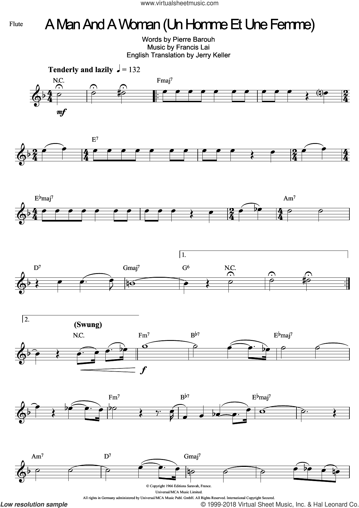 A Man And A Woman (Un Homme Et Une Femme) sheet music for flute solo by Francis Lai and Pierre Barouh, intermediate skill level