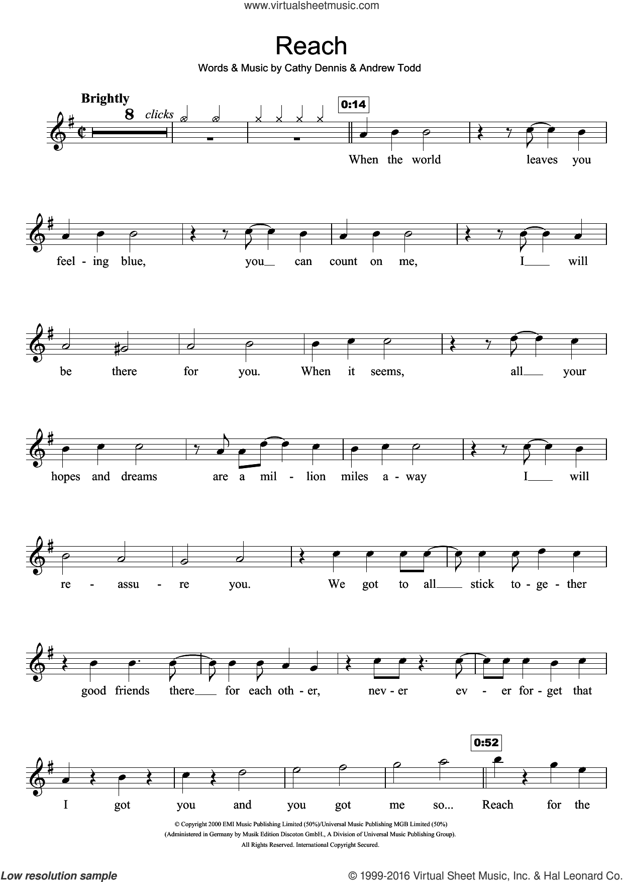 Reach sheet music for flute solo by S Club 7, Andrew Todd and Cathy Dennis, intermediate skill level