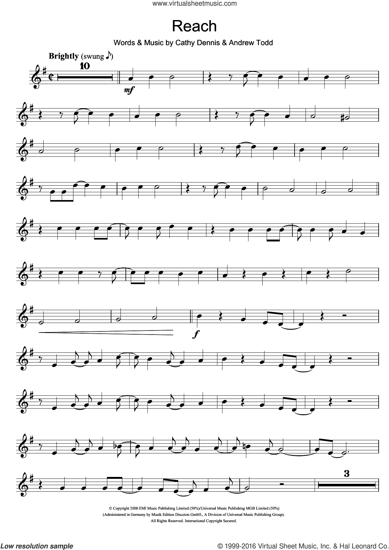 Reach sheet music for trumpet solo by Cathy Dennis and S Club 7. Score Image Preview.