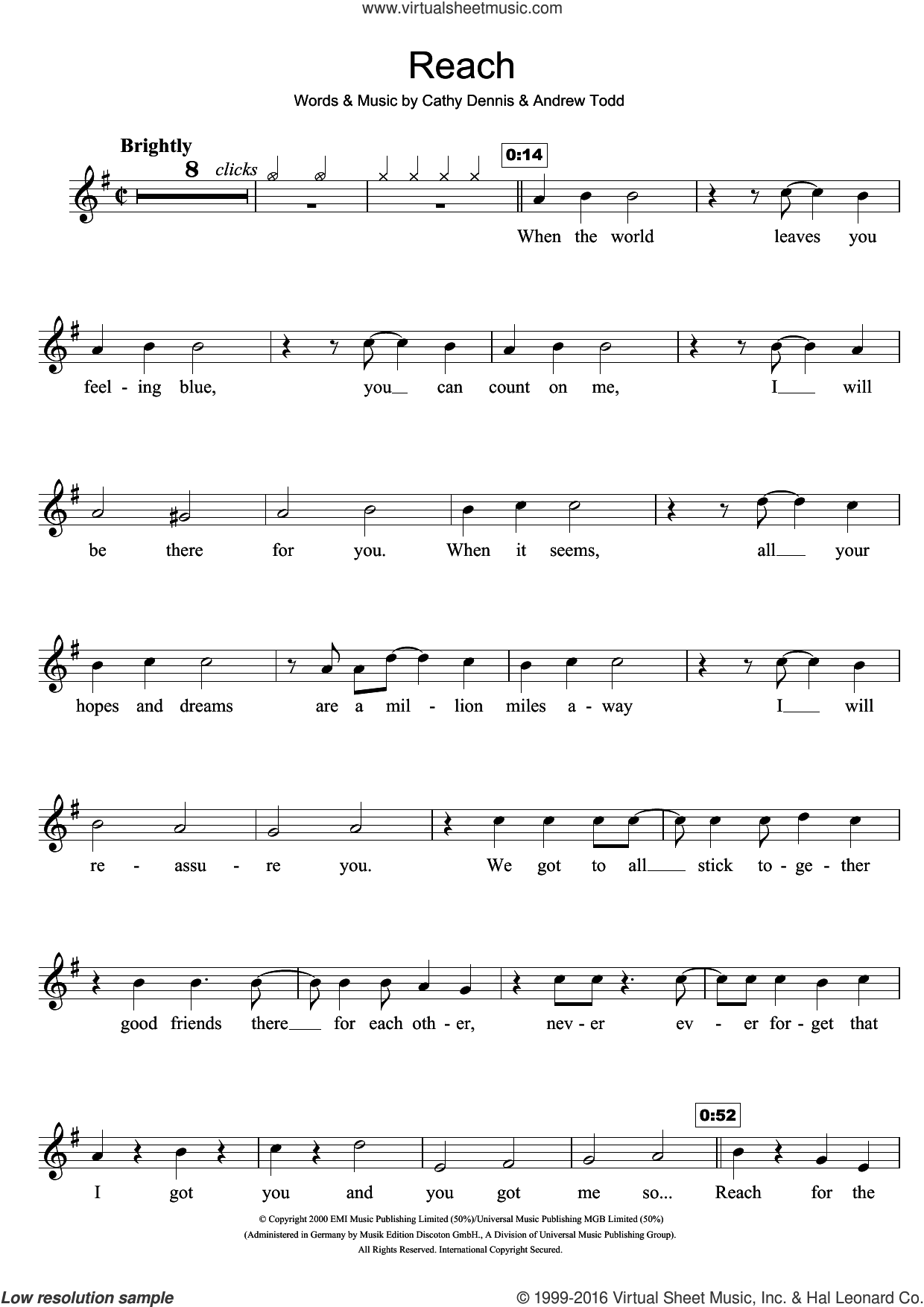 Reach sheet music for violin solo by S Club 7, Andrew Todd and Cathy Dennis, intermediate skill level